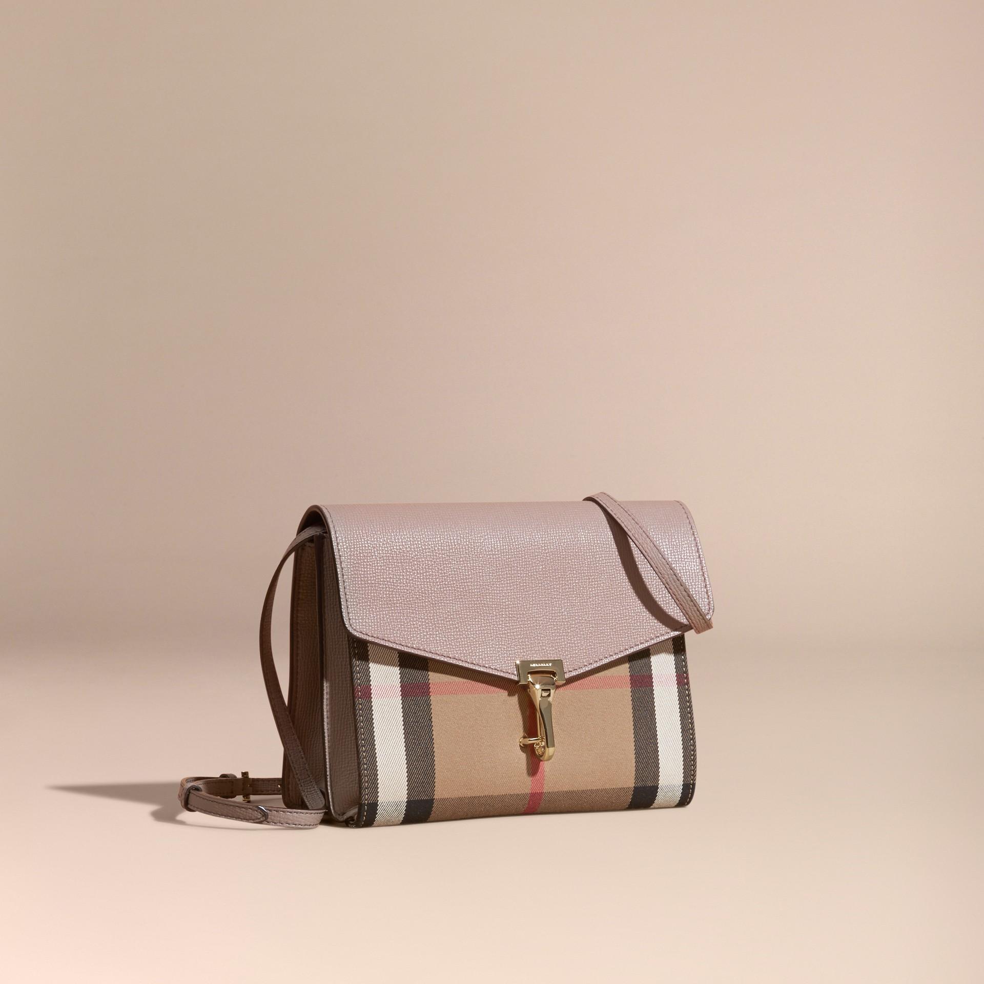 Gris chardon Petit sac à bandoulière en cuir et coton House check Gris Chardon - photo de la galerie 1