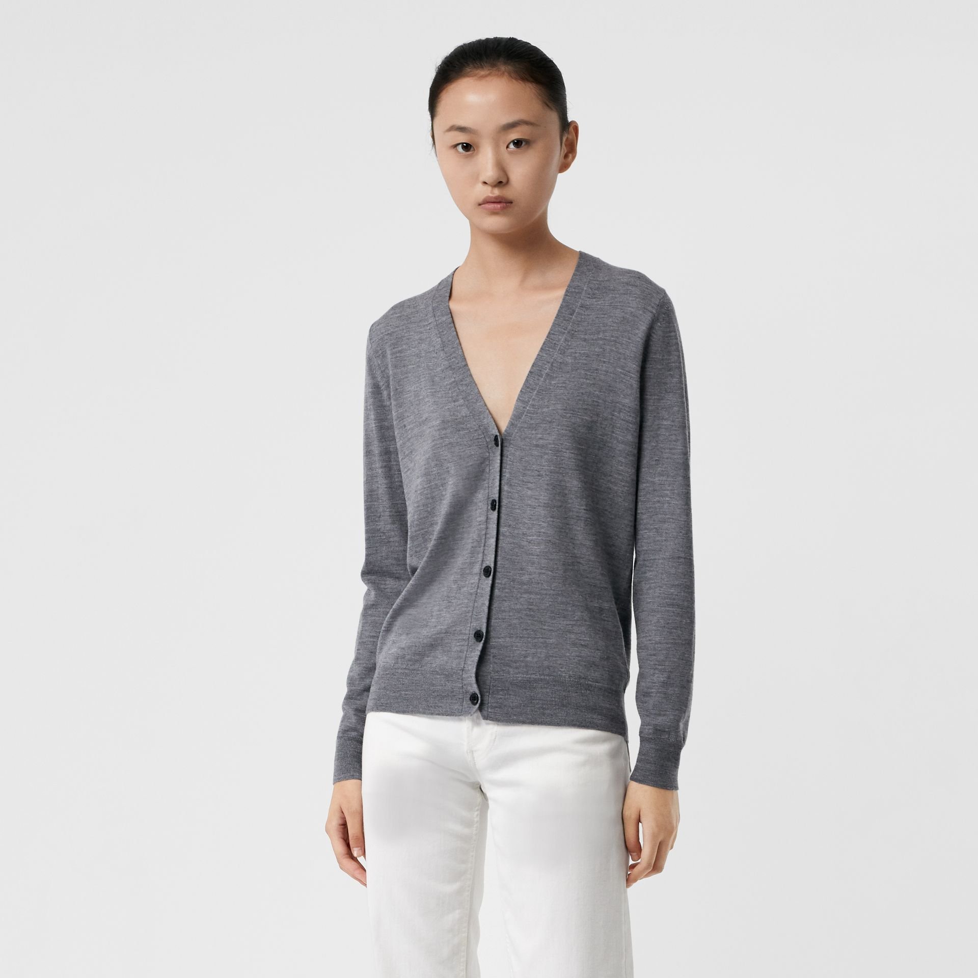 Check Detail Merino Wool Cardigan in Mid Grey Melange - Women | Burberry Canada - gallery image 0