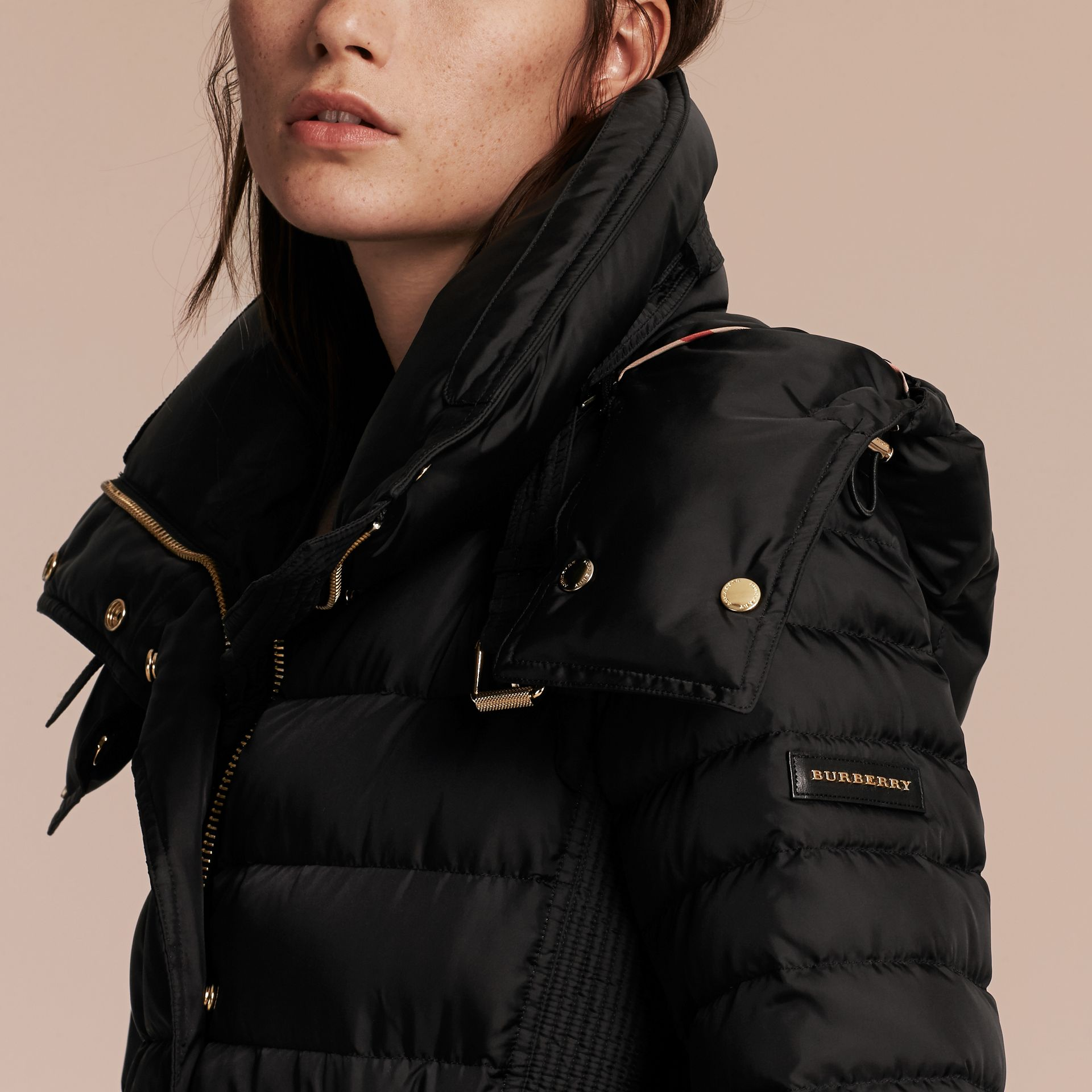 Black Down-filled Puffer Coat with Packaway Hood - gallery image 5