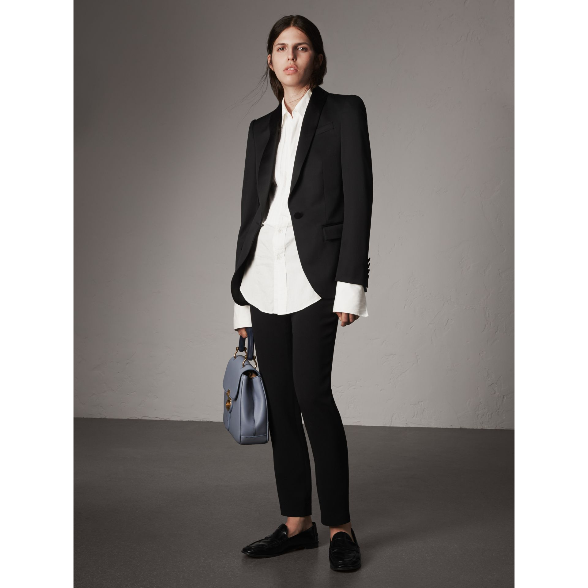 Stretch Wool Tuxedo Jacket in Black - Women | Burberry - gallery image 1