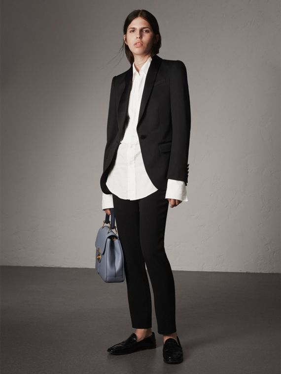 Stretch Wool Tuxedo Jacket - Women | Burberry