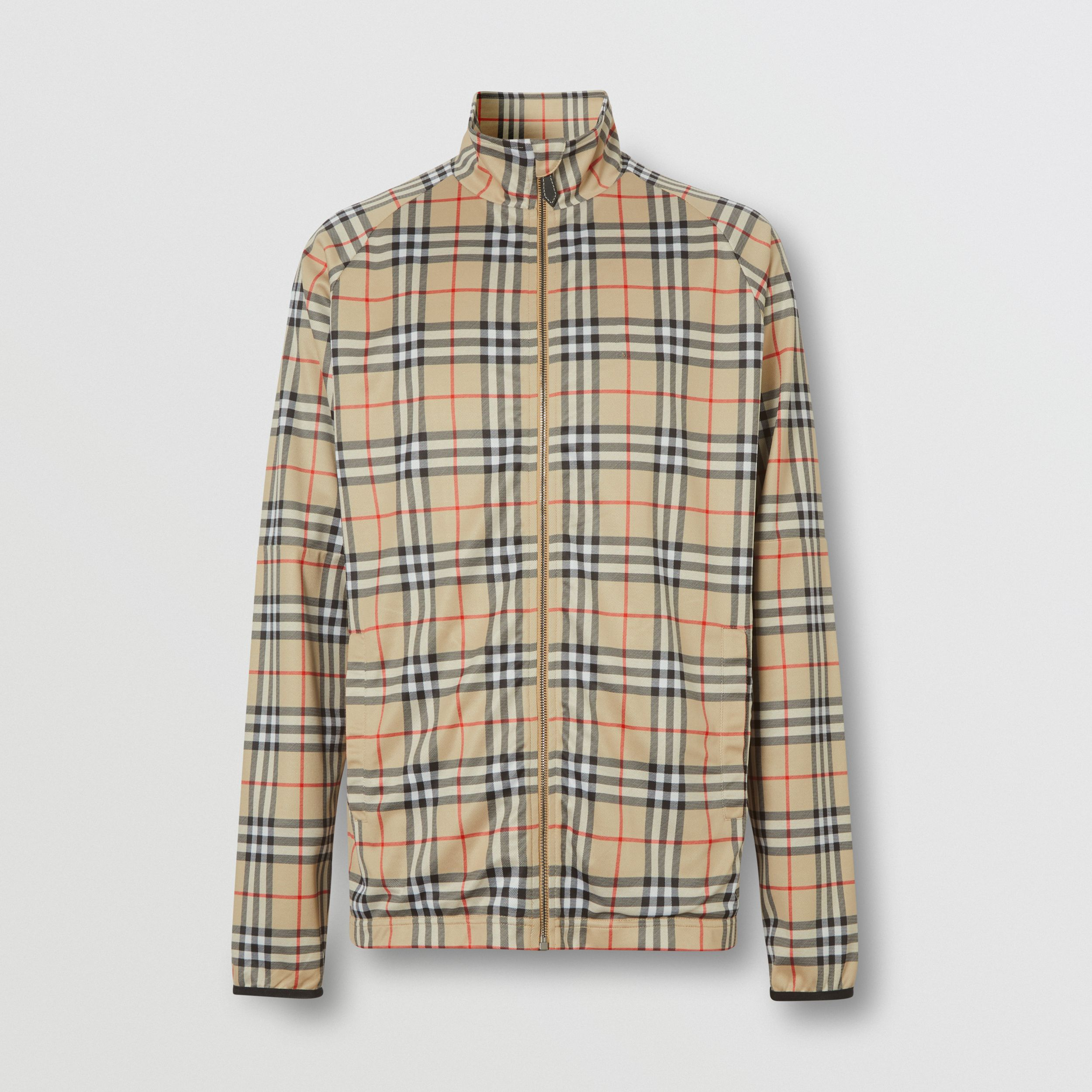 Vintage Check Technical Twill Track Top in Archive Beige - Men | Burberry United Kingdom - 4