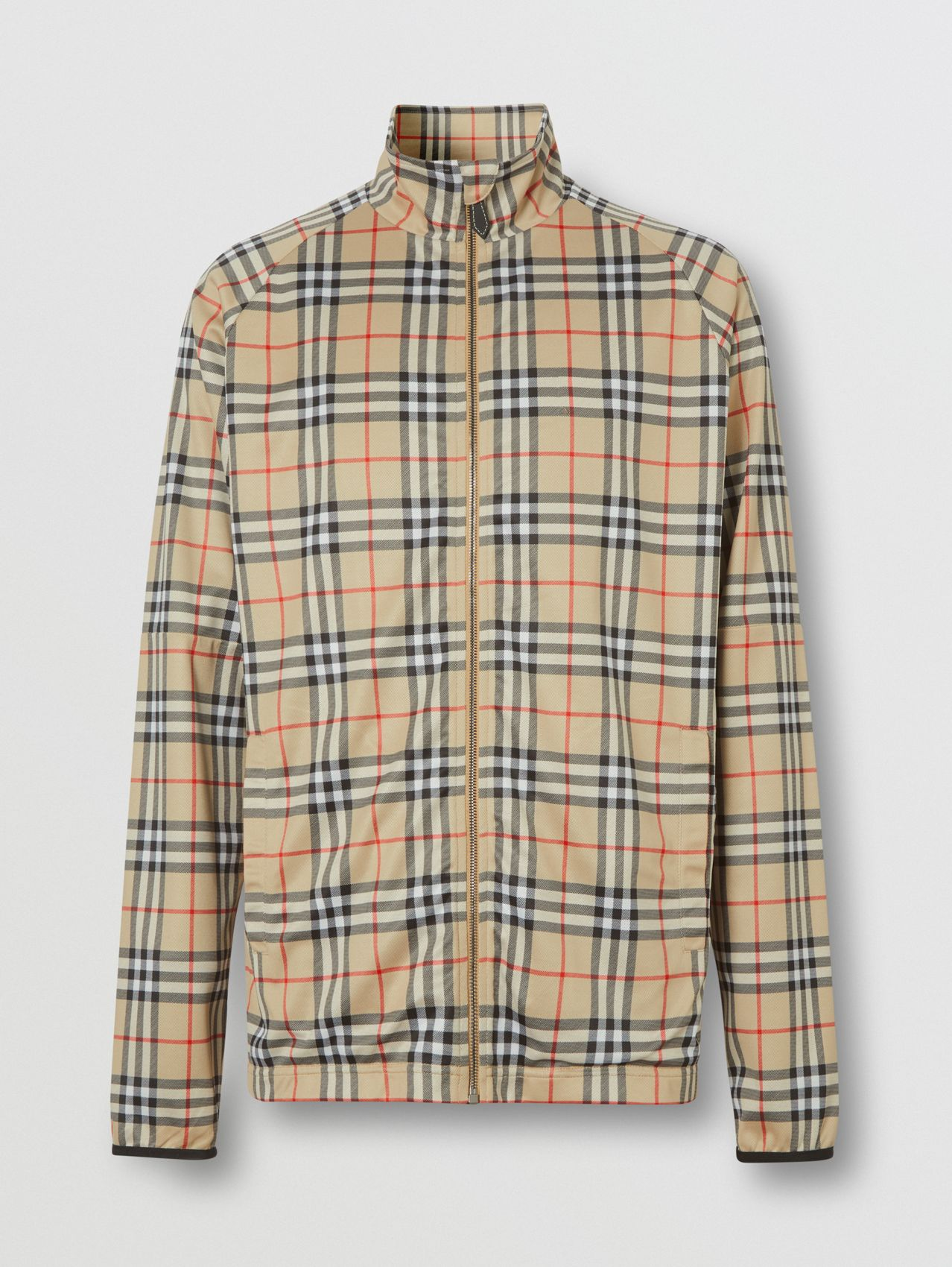 Vintage Check Technical Twill Track Top in Archive Beige