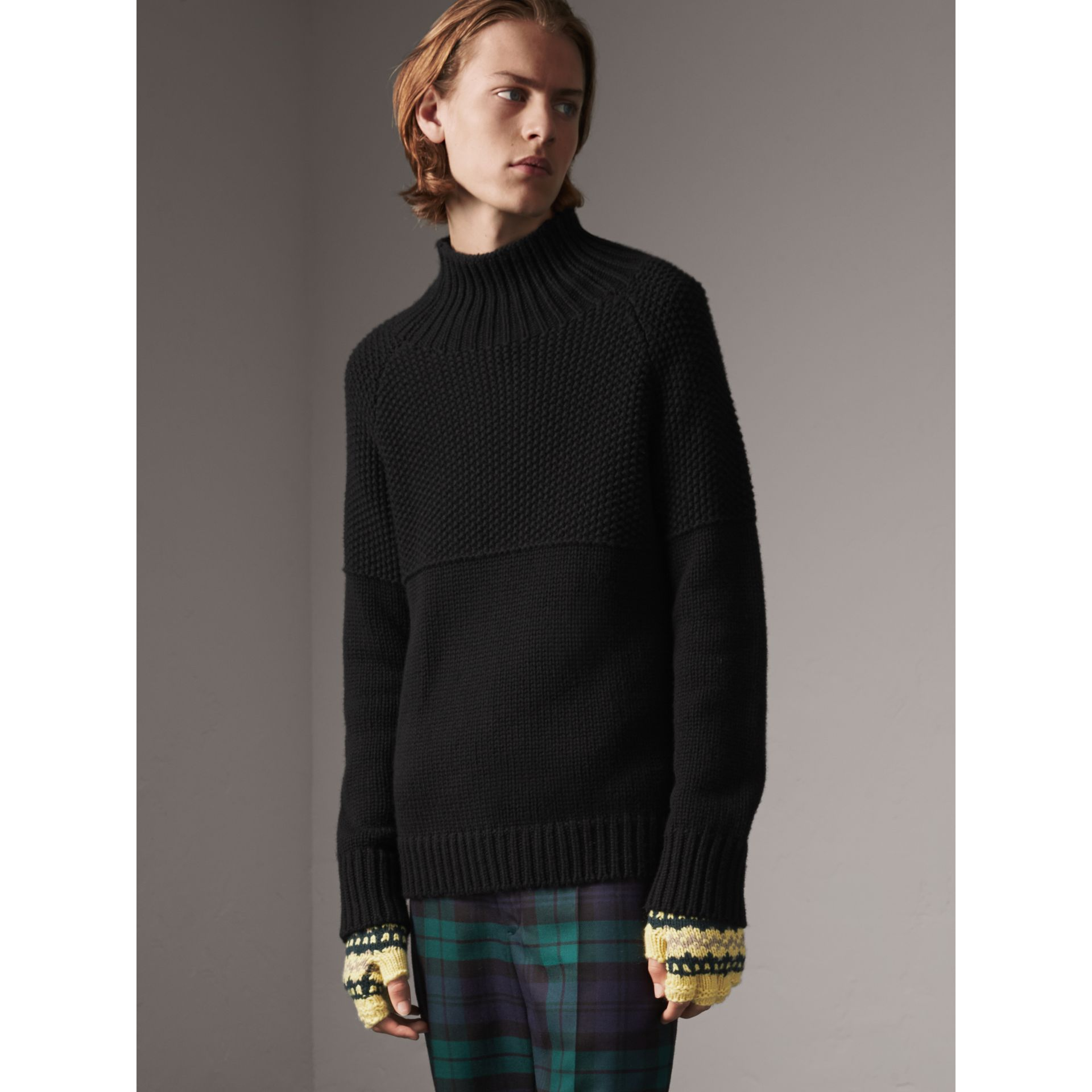 Cashmere Fisherman Sweater in Black - Men | Burberry - gallery image 6