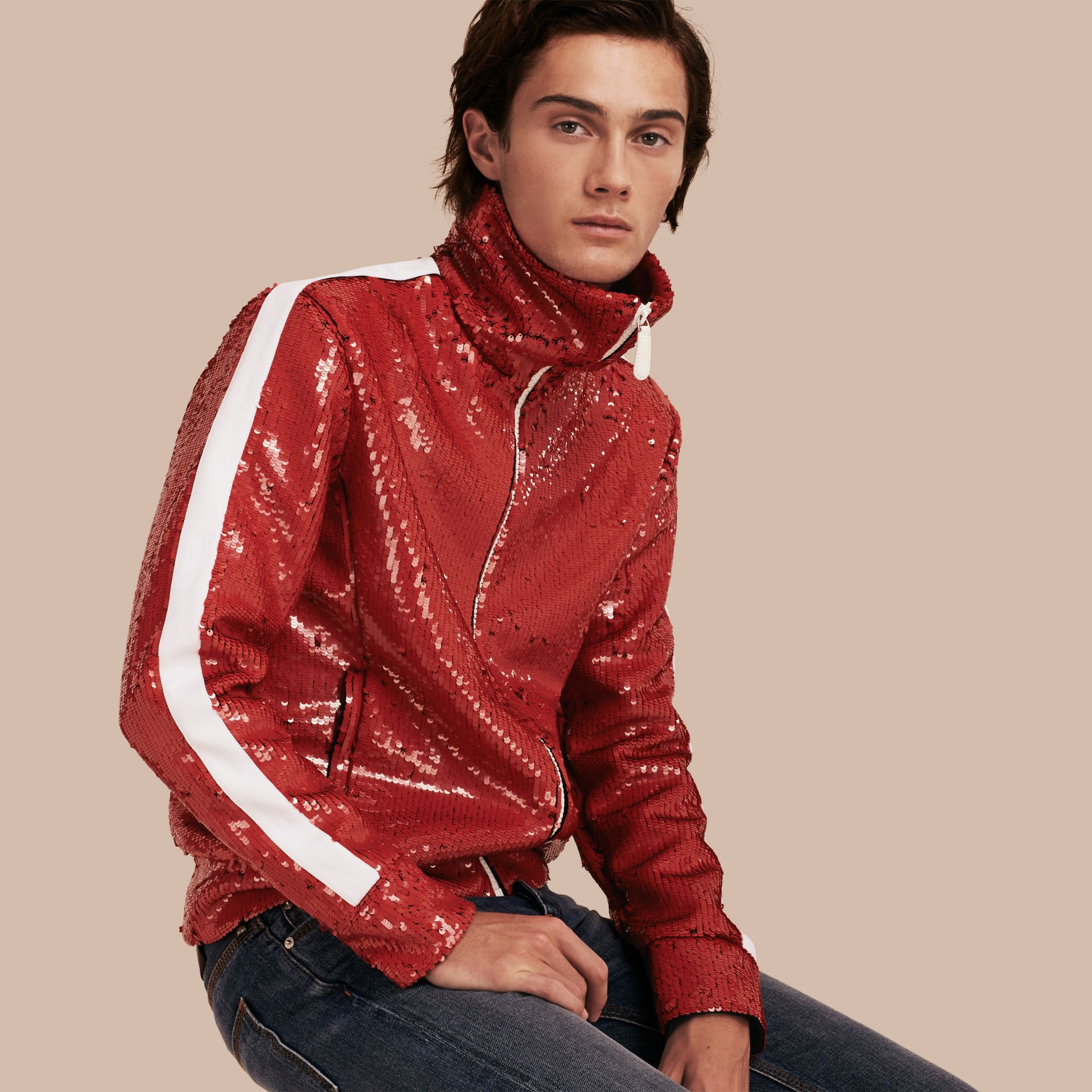 Cranberry red Sequin Track Jacket - gallery image 1