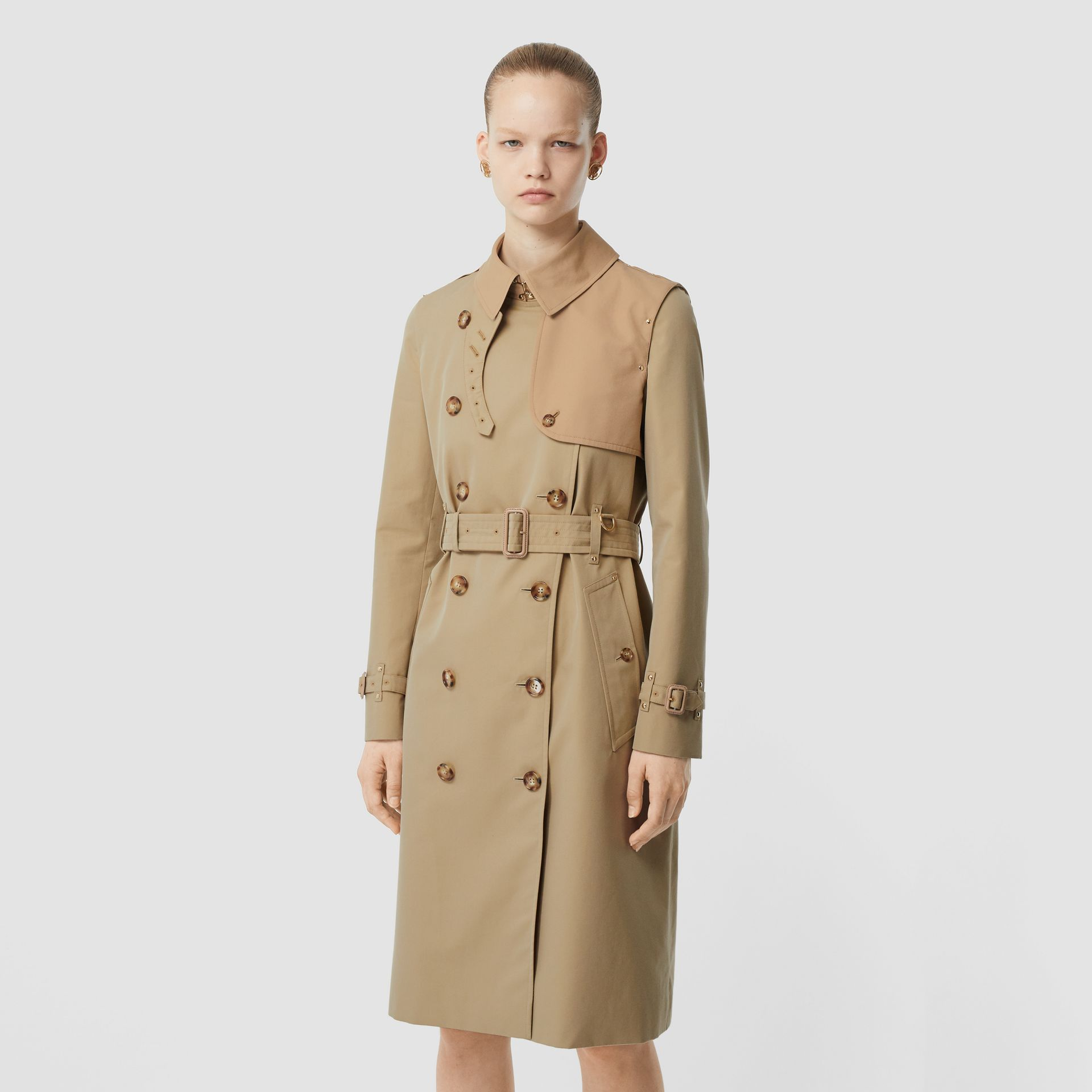 Two-tone Cotton Gabardine Trench Coat in Honey - Women | Burberry Singapore - gallery image 6