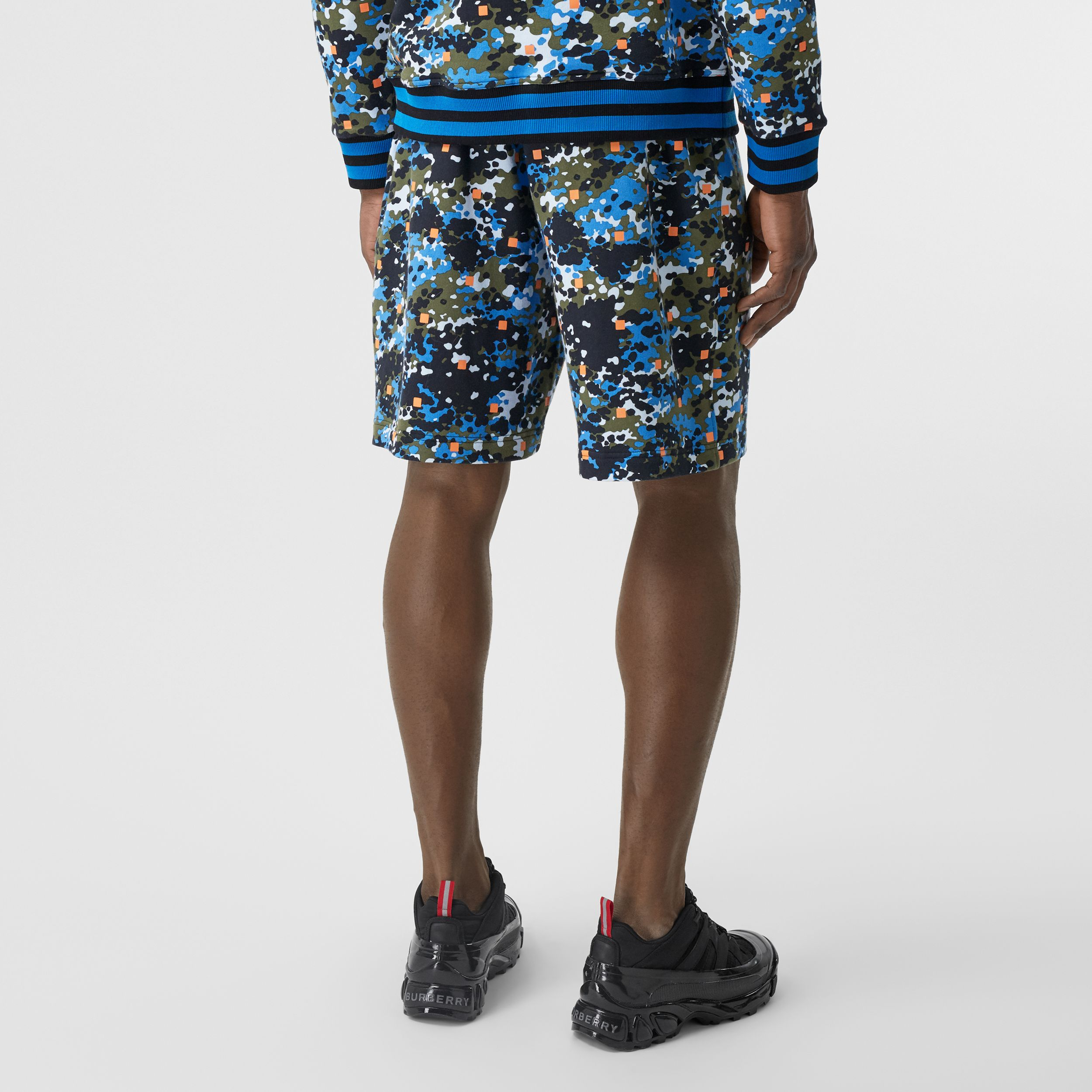 Monogram Motif Camouflage Print Drawcord Shorts in Caper Green - Men | Burberry Australia - 3