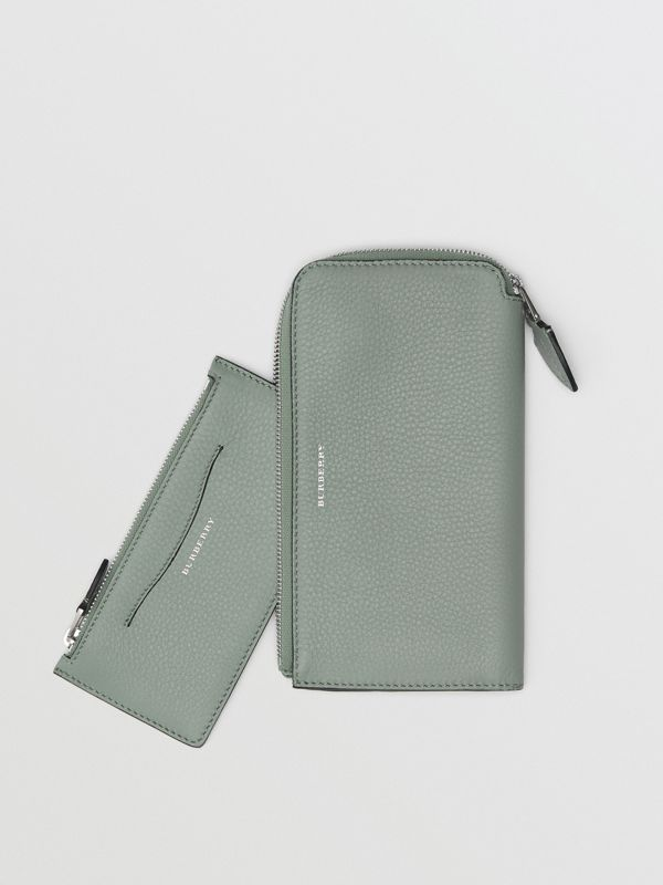 Two-tone Leather Ziparound Wallet and Coin Case in Grey Blue - Women | Burberry United States - cell image 2