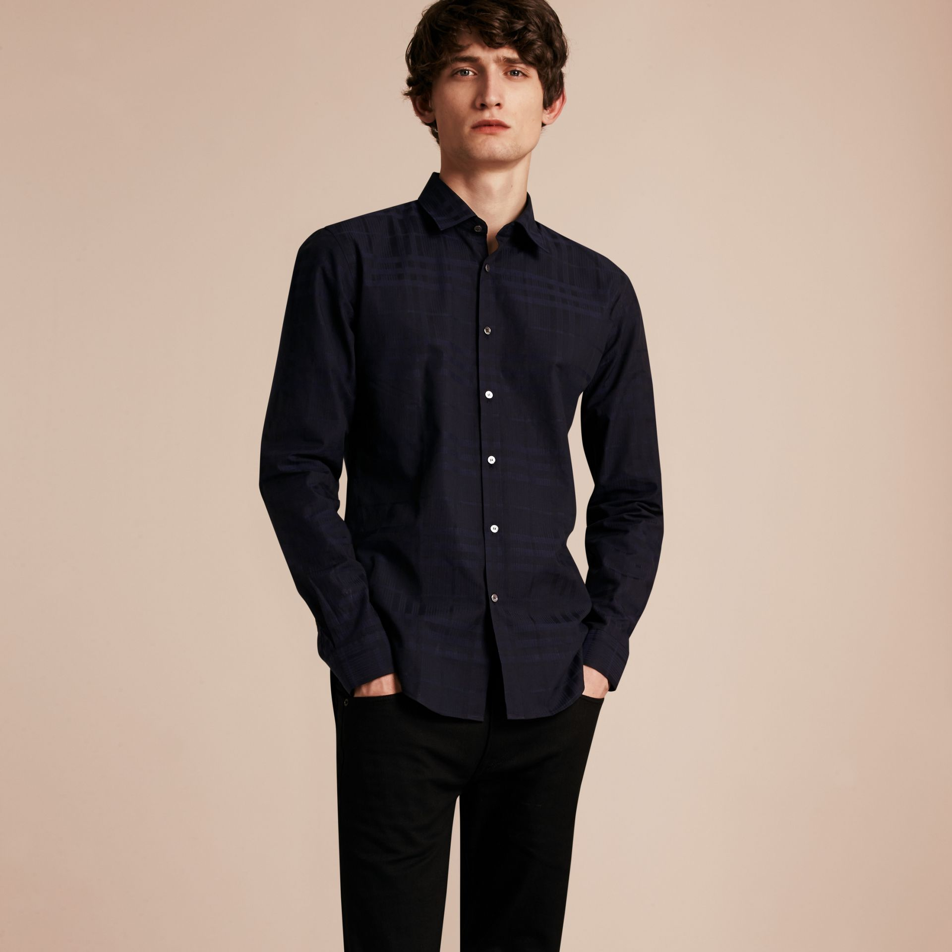 Navy Check Jacquard Cotton Shirt Navy - gallery image 6