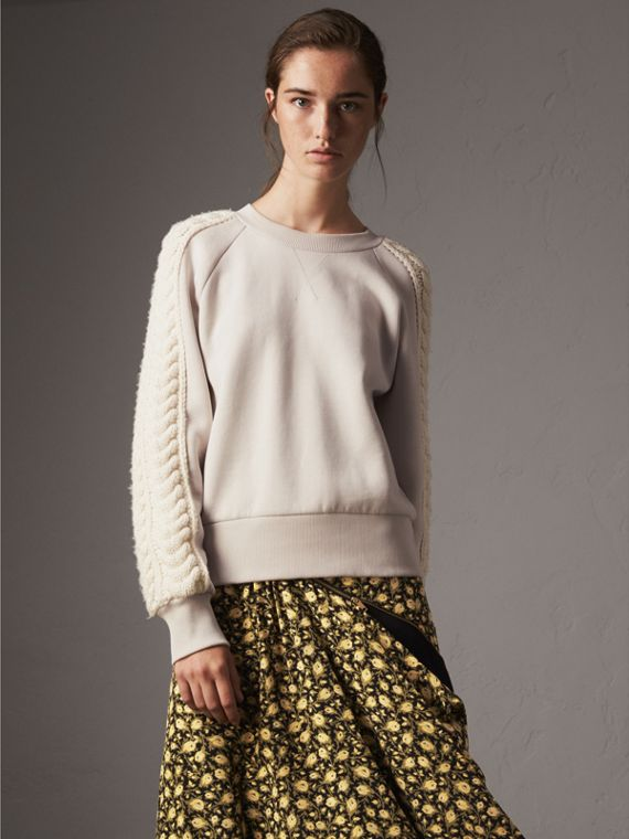 Cable Knit Wool Cashmere Panel Sweatshirt in Winter White