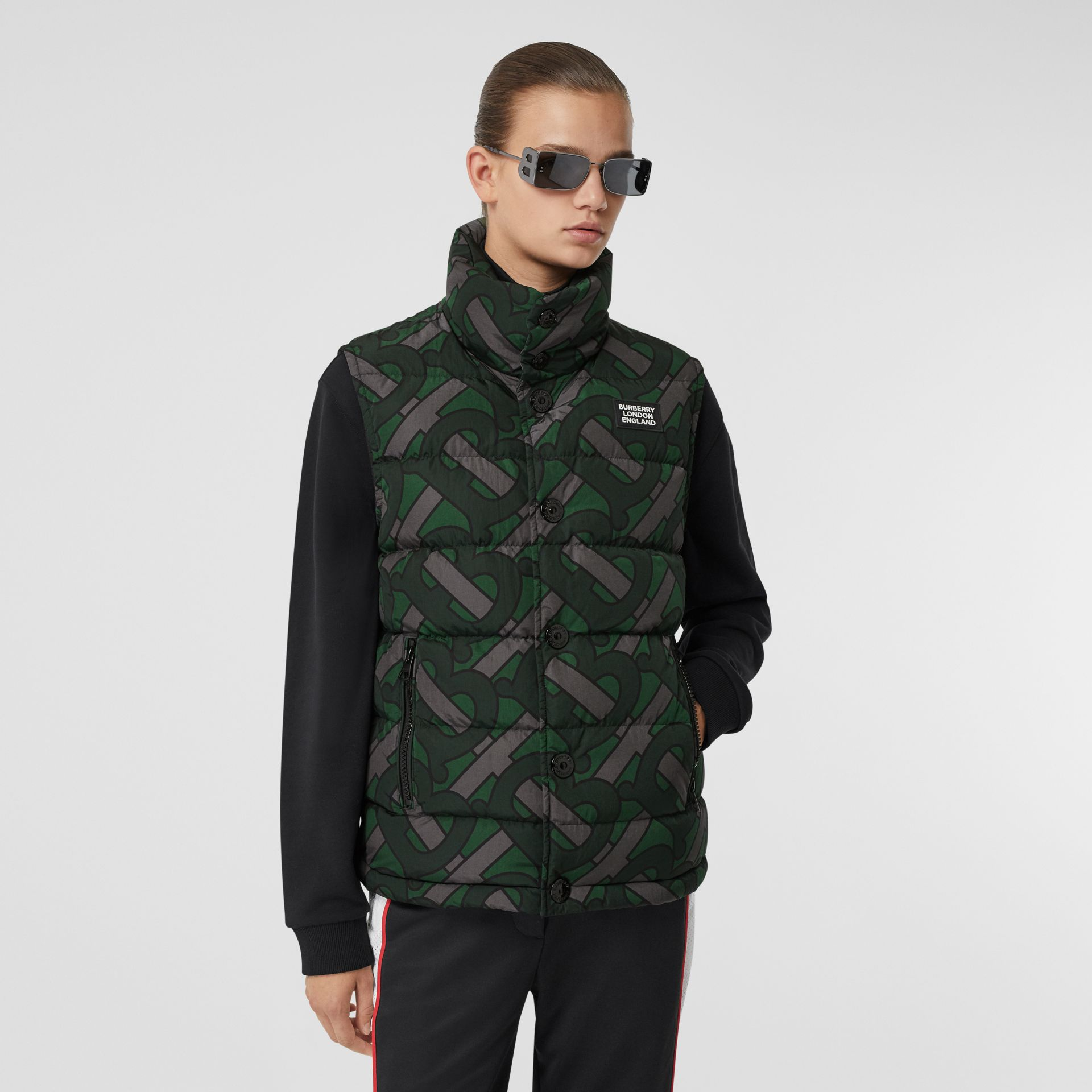 Monogram Print Puffer Gilet in Forest Green | Burberry - gallery image 5