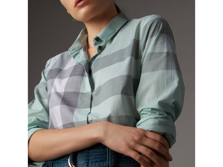 Check Cotton Shirt in Pale Opal - Women | Burberry Australia - cell image 1