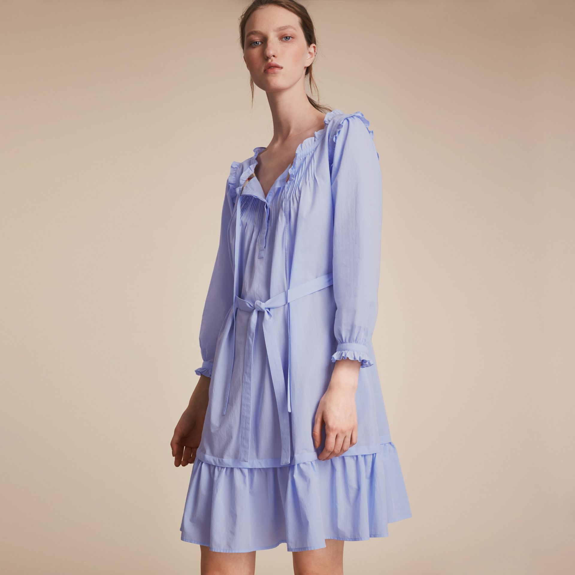 Ruffle and Pintuck Detail Cotton Dress in Pale Blue - Women | Burberry - gallery image 5