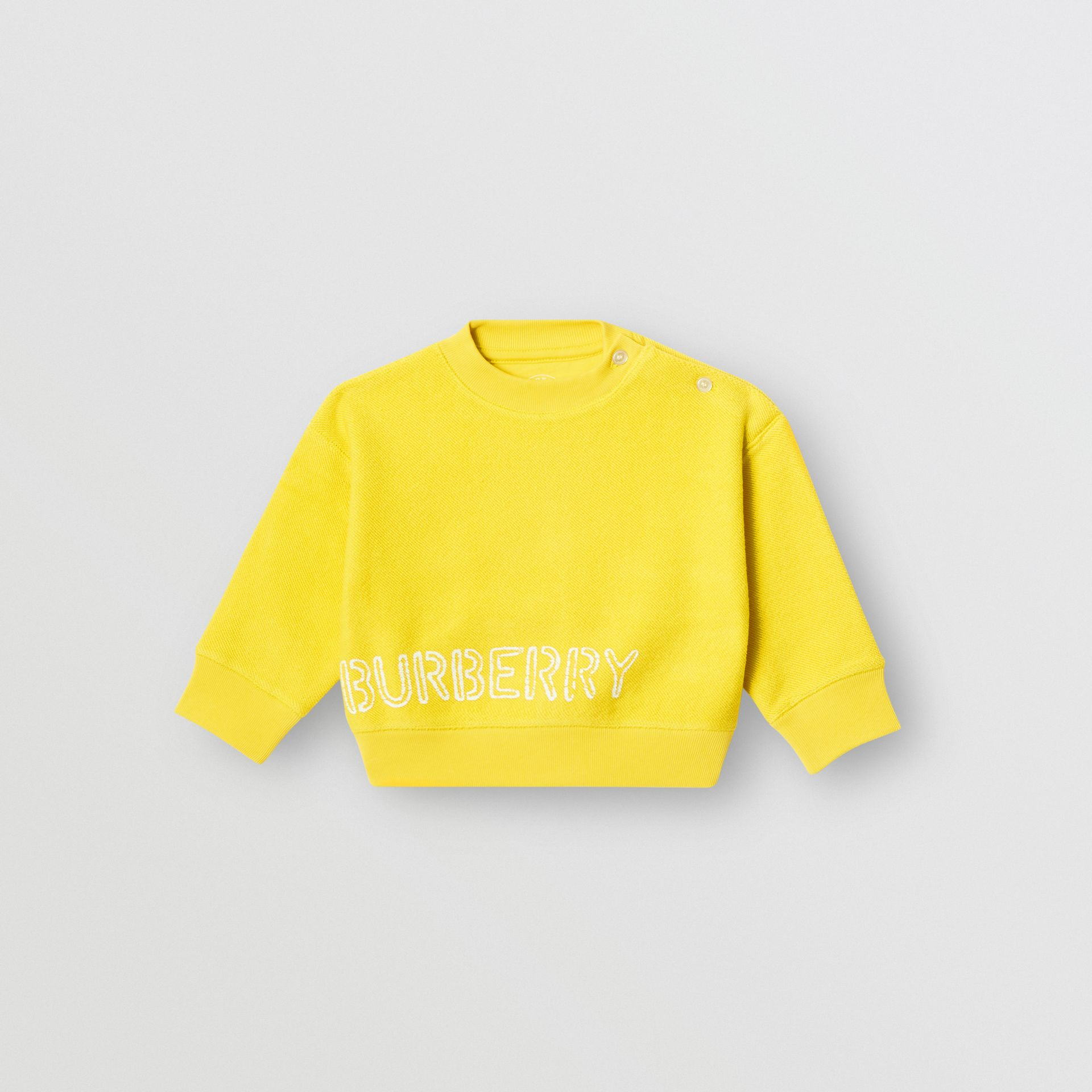 Stencil Logo Print Cotton Sweatshirt in Citron - Children | Burberry - gallery image 0