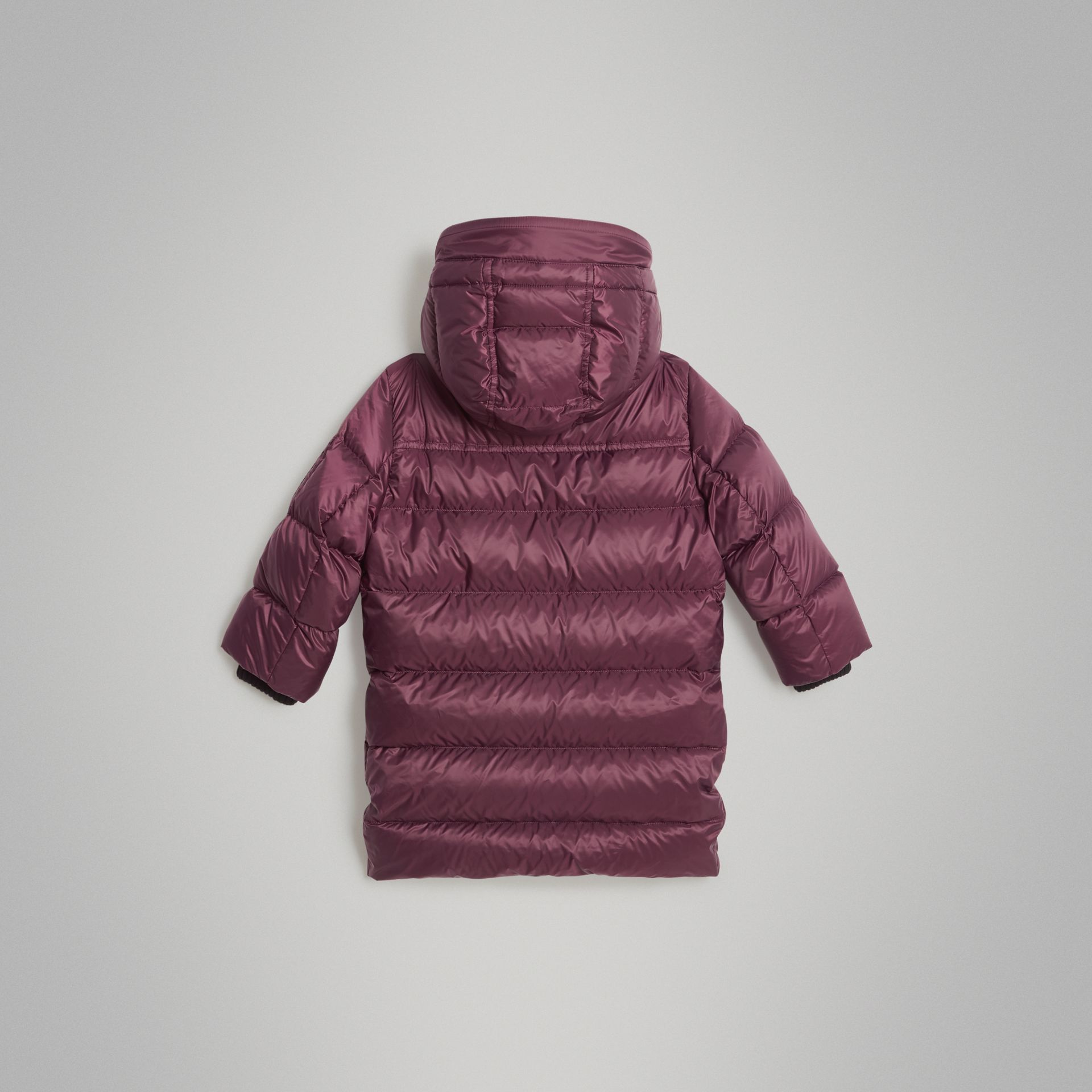 Detachable Hood Down-filled Puffer Coat in Beetroot | Burberry Australia - gallery image 3