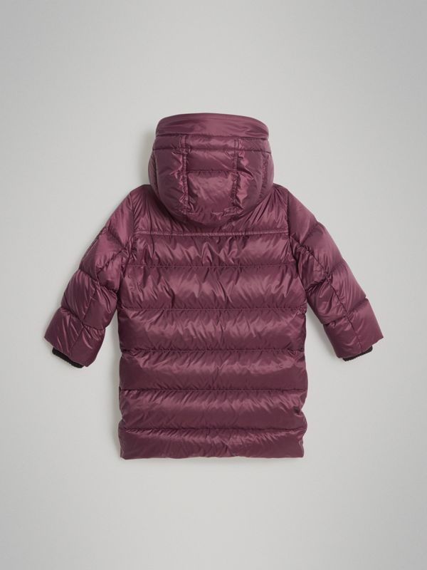 Detachable Hood Down-filled Puffer Coat in Beetroot | Burberry Australia - cell image 3