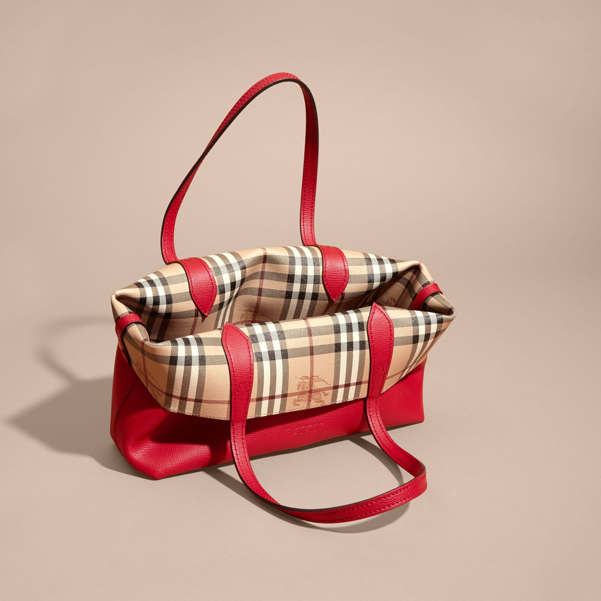 The Small Reversible Tote in Haymarket Check and Leather Poppy Red - gallery image 7