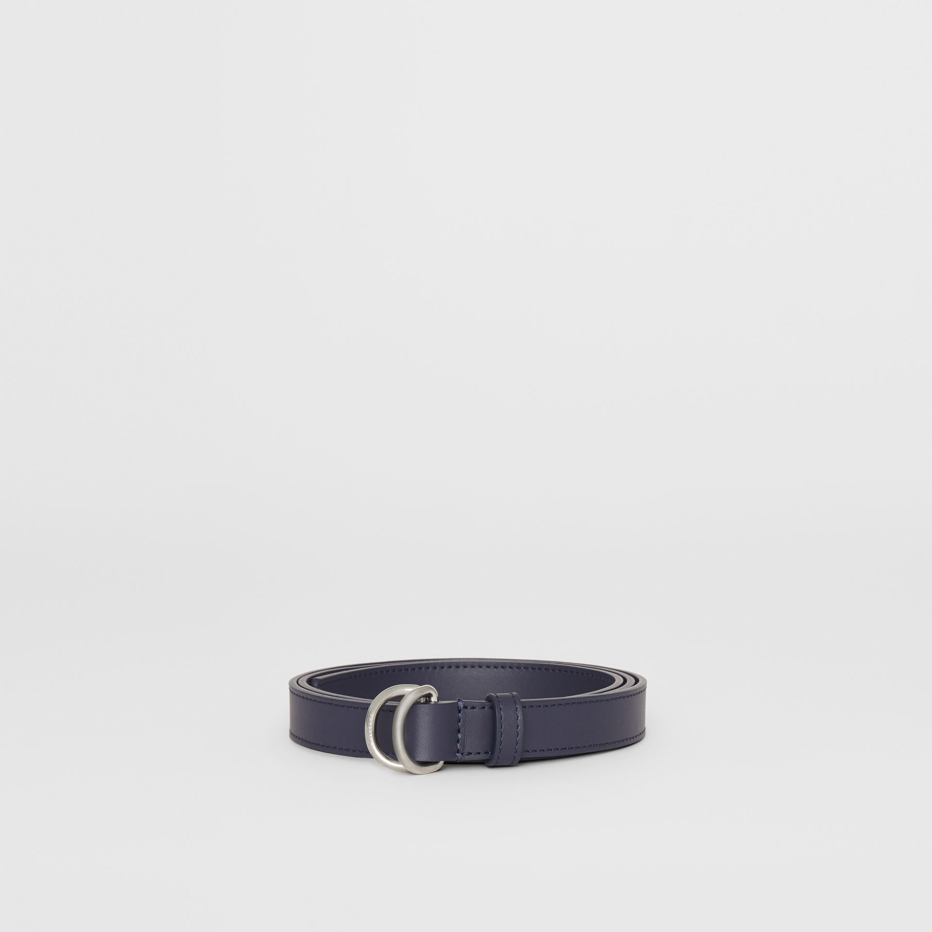 Slim Leather Double D-ring Belt in Regency Blue - Women | Burberry - gallery image 3