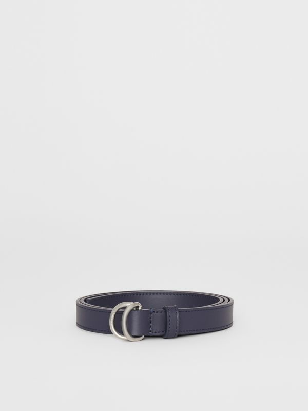 Slim Leather Double D-ring Belt in Regency Blue - Women | Burberry Australia - cell image 3