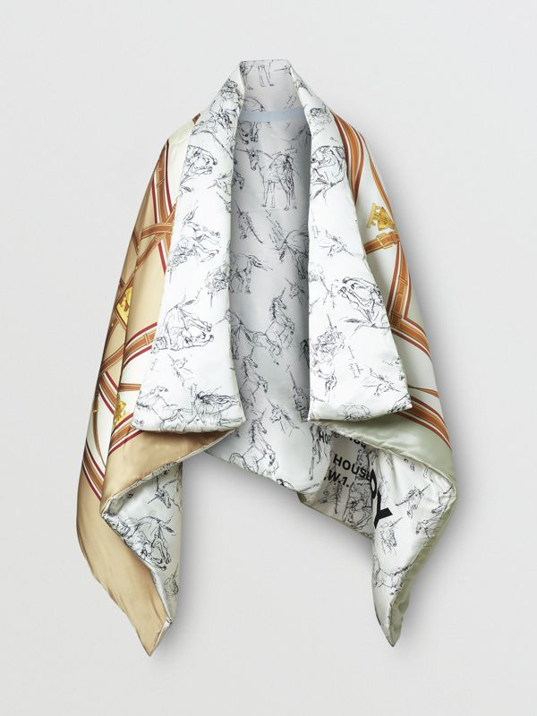 Unicorn Sketch Print Silk Satin Oversized Puffer Cape in Multicolour - Women | Burberry - cell image 3