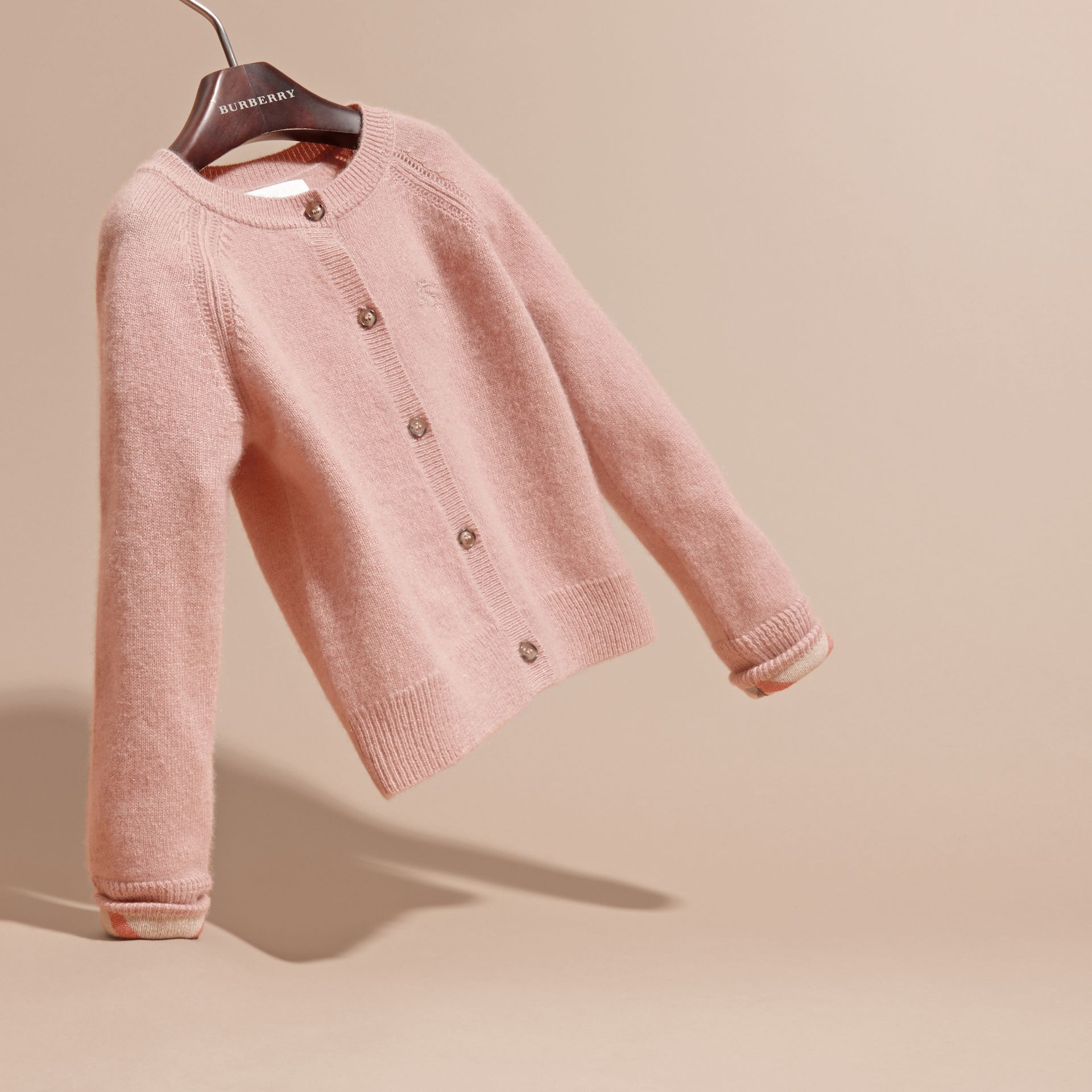 Check Cuff Cashmere Cardigan in Pale Ash Rose - gallery image 3