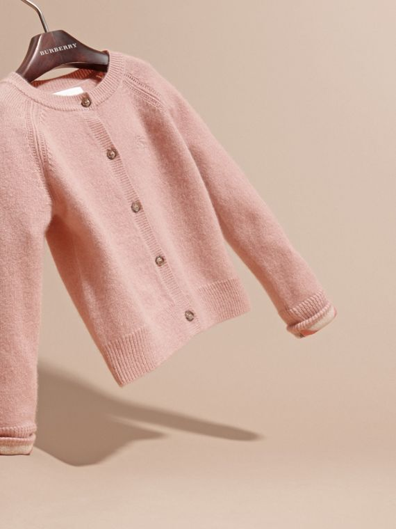 Check Cuff Cashmere Cardigan in Pale Ash Rose - cell image 2