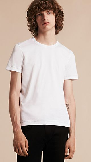 Topstitch Detail Cotton T-shirt