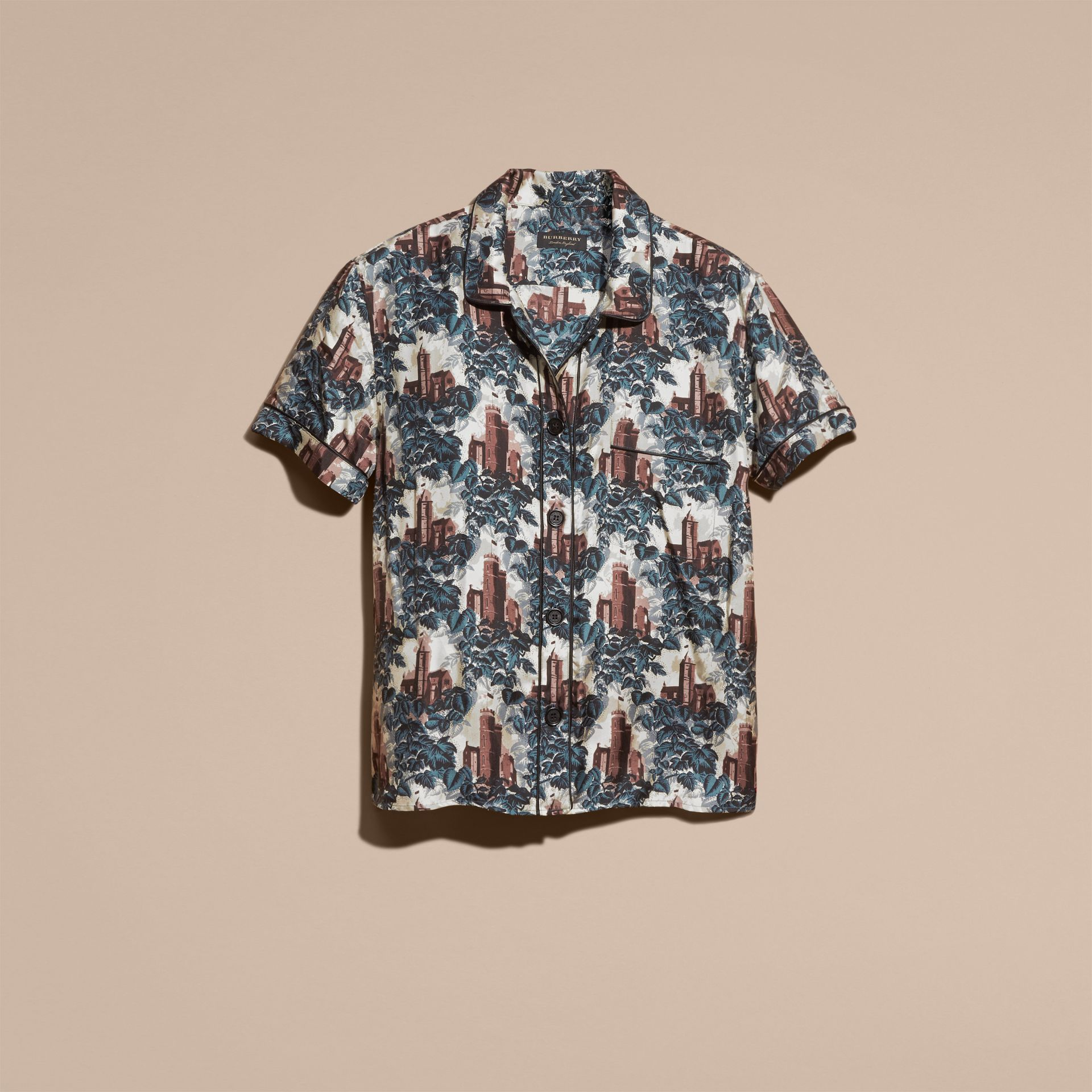 Airforce blue Short-sleeved Castle Print Silk Pyjama-style Shirt - gallery image 4