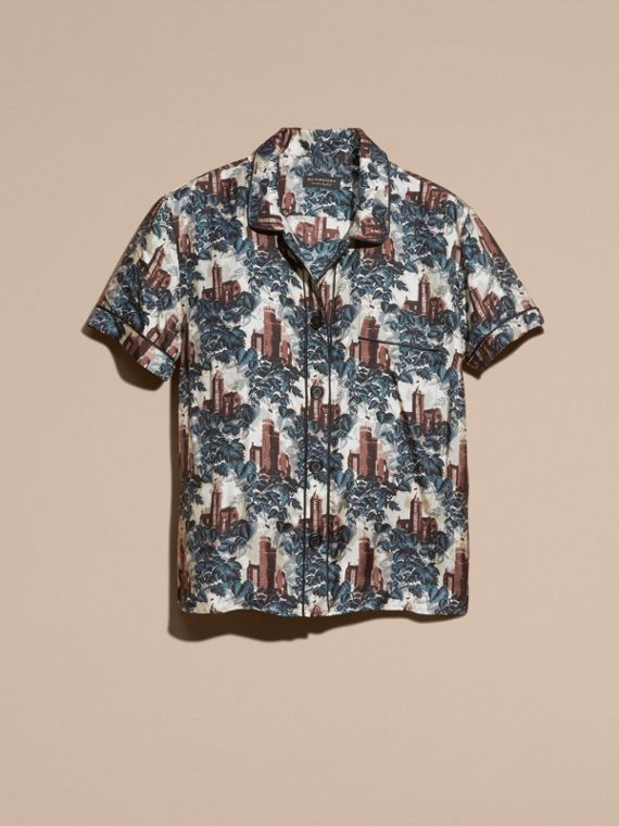 Airforce blue Short-sleeved Castle Print Silk Pyjama-style Shirt - cell image 3