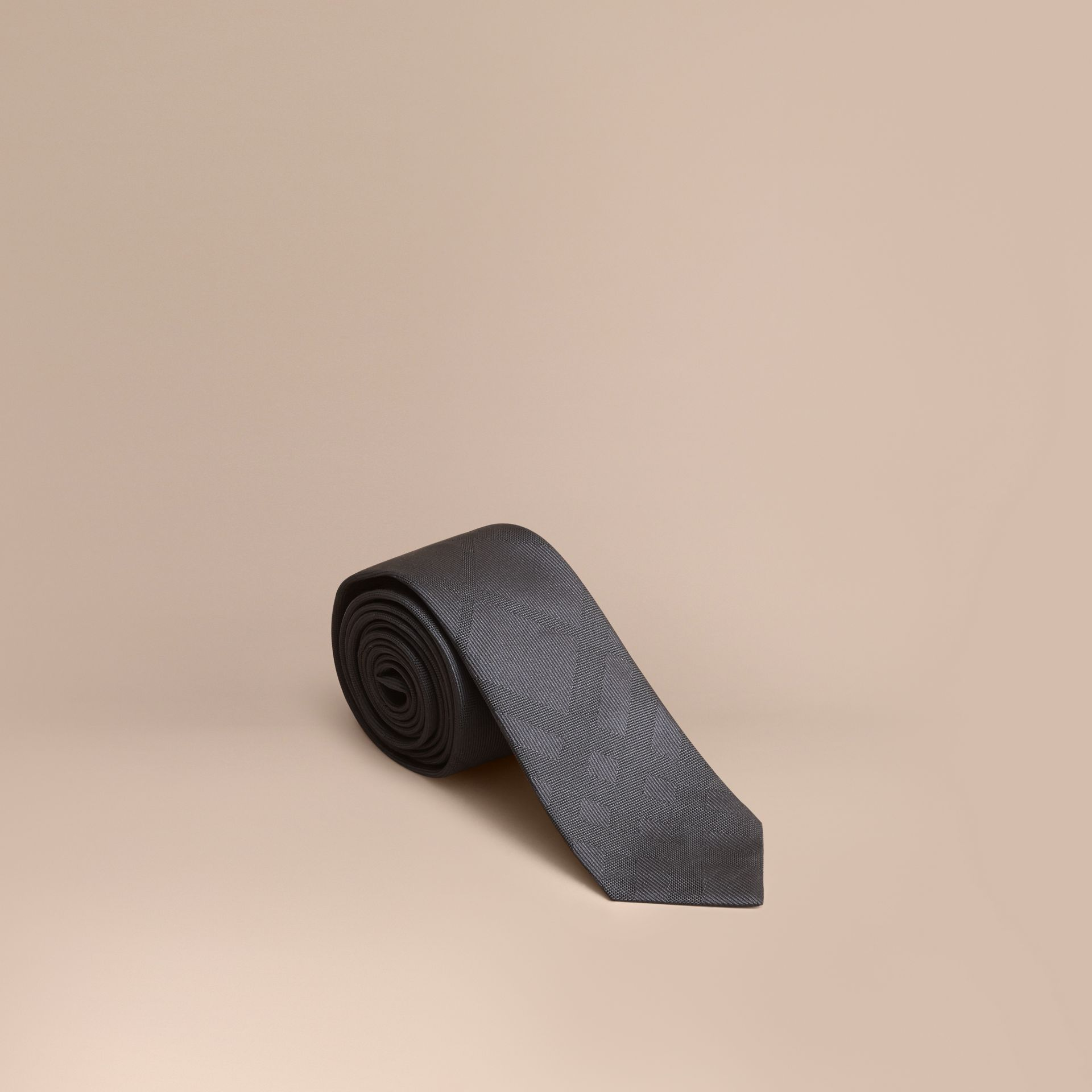 Slim Cut Check Silk Tie Charcoal - gallery image 1
