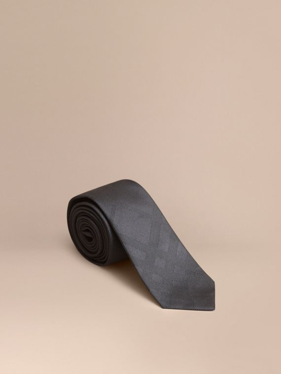 Slim Cut Check Silk Tie Charcoal