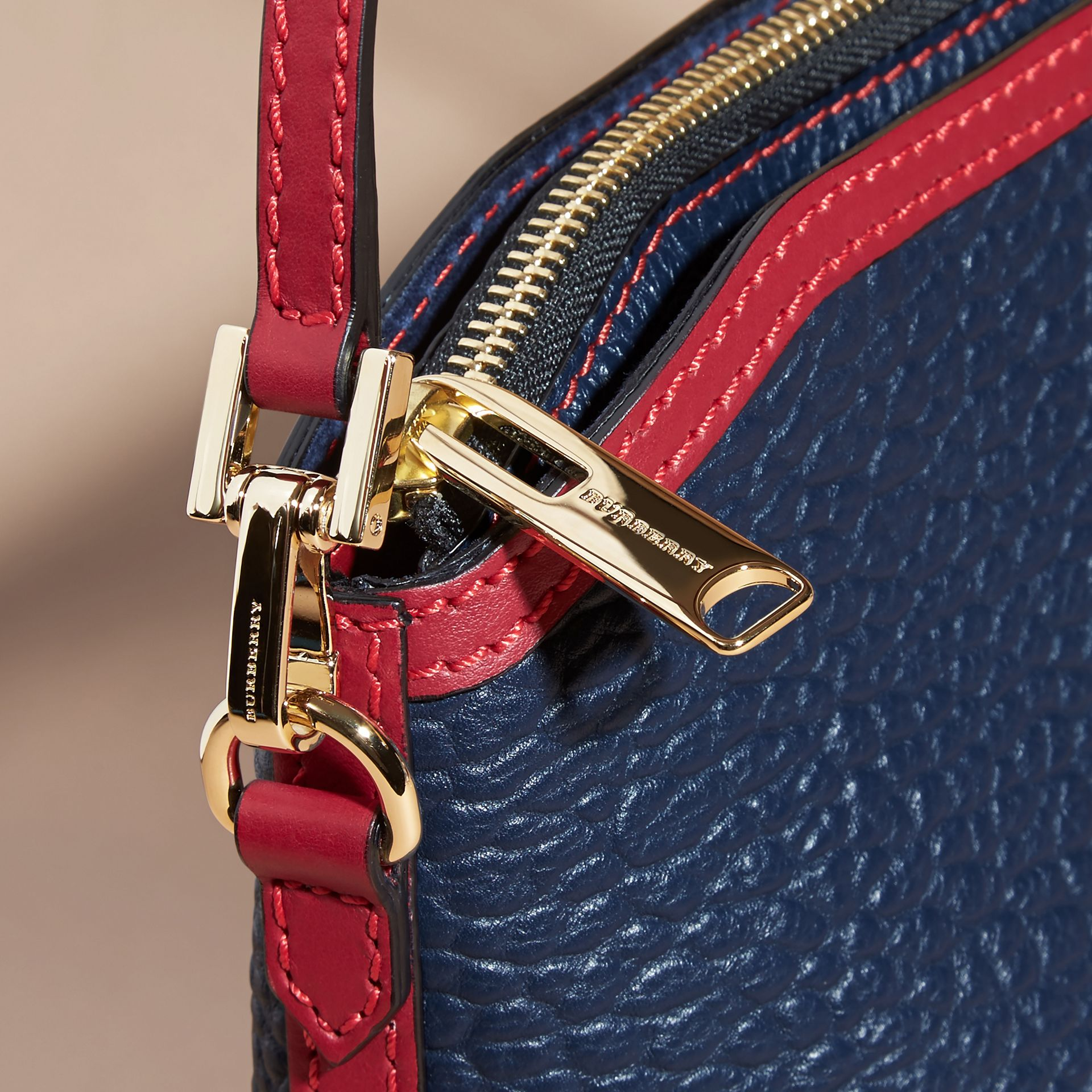 Blue carbon/parade red Small Contrast Border Grainy Leather Clutch Bag - gallery image 7