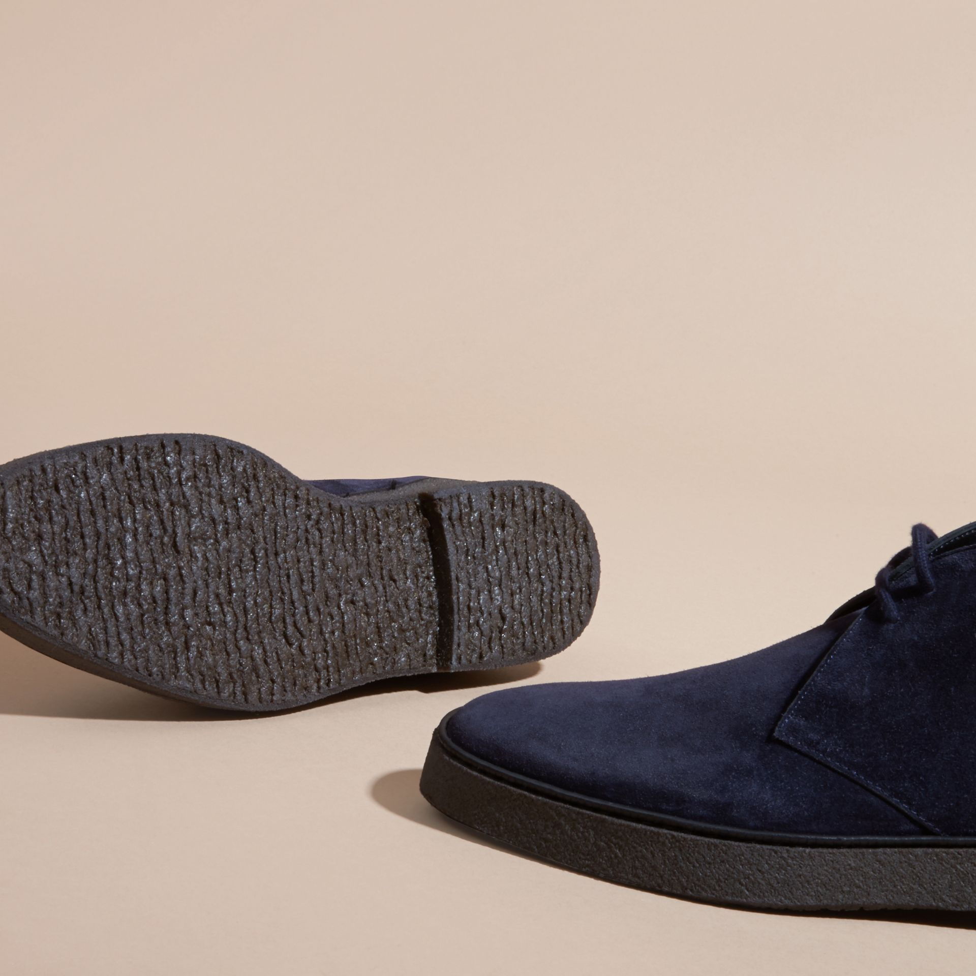 Crepe Sole Suede Desert Boots in Navy - gallery image 5