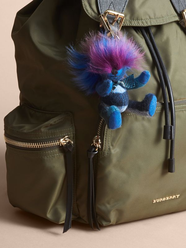 Thomas Bear Charm with Rainbow Shearling Trim in Bright Cornflower Blue - Women | Burberry - cell image 2