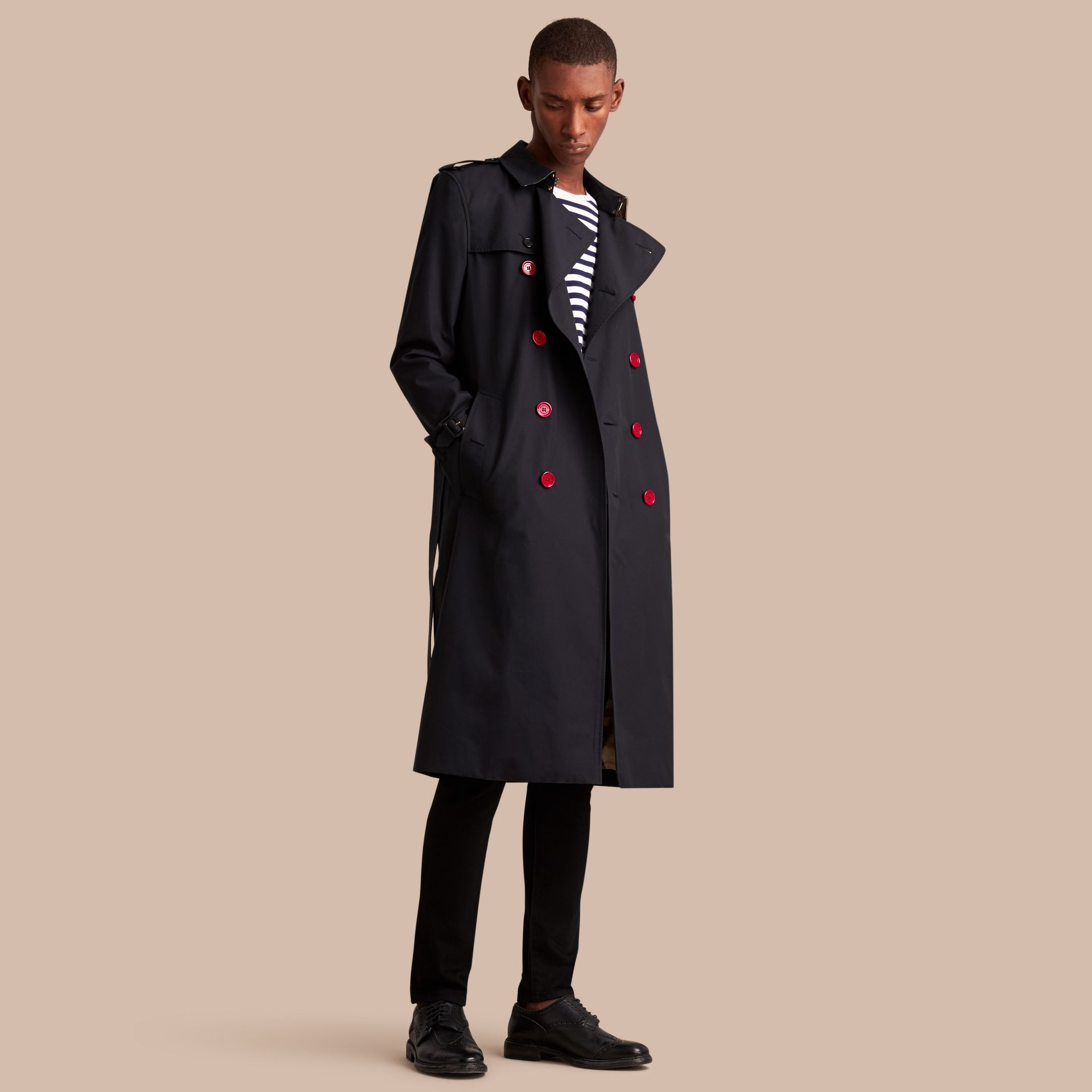Extra-long Resin Button Cotton Gabardine Trench Coat in Navy - Men | Burberry - gallery image 1