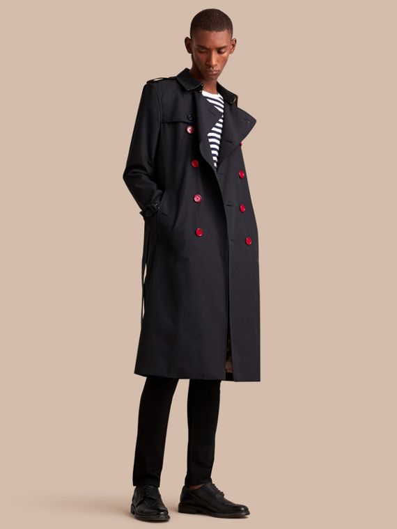 Extra-long Resin Button Cotton Gabardine Trench Coat in Navy - Men | Burberry Australia