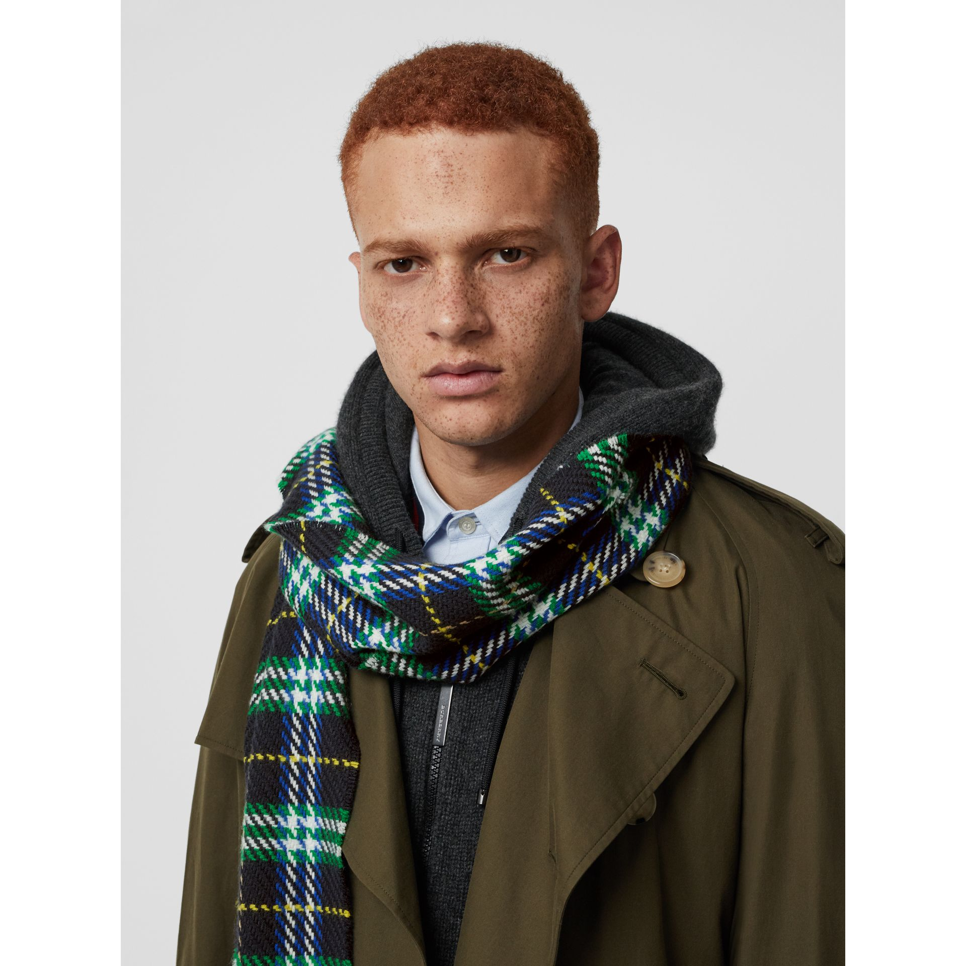 Check Merino Wool Scarf in Navy | Burberry - gallery image 6
