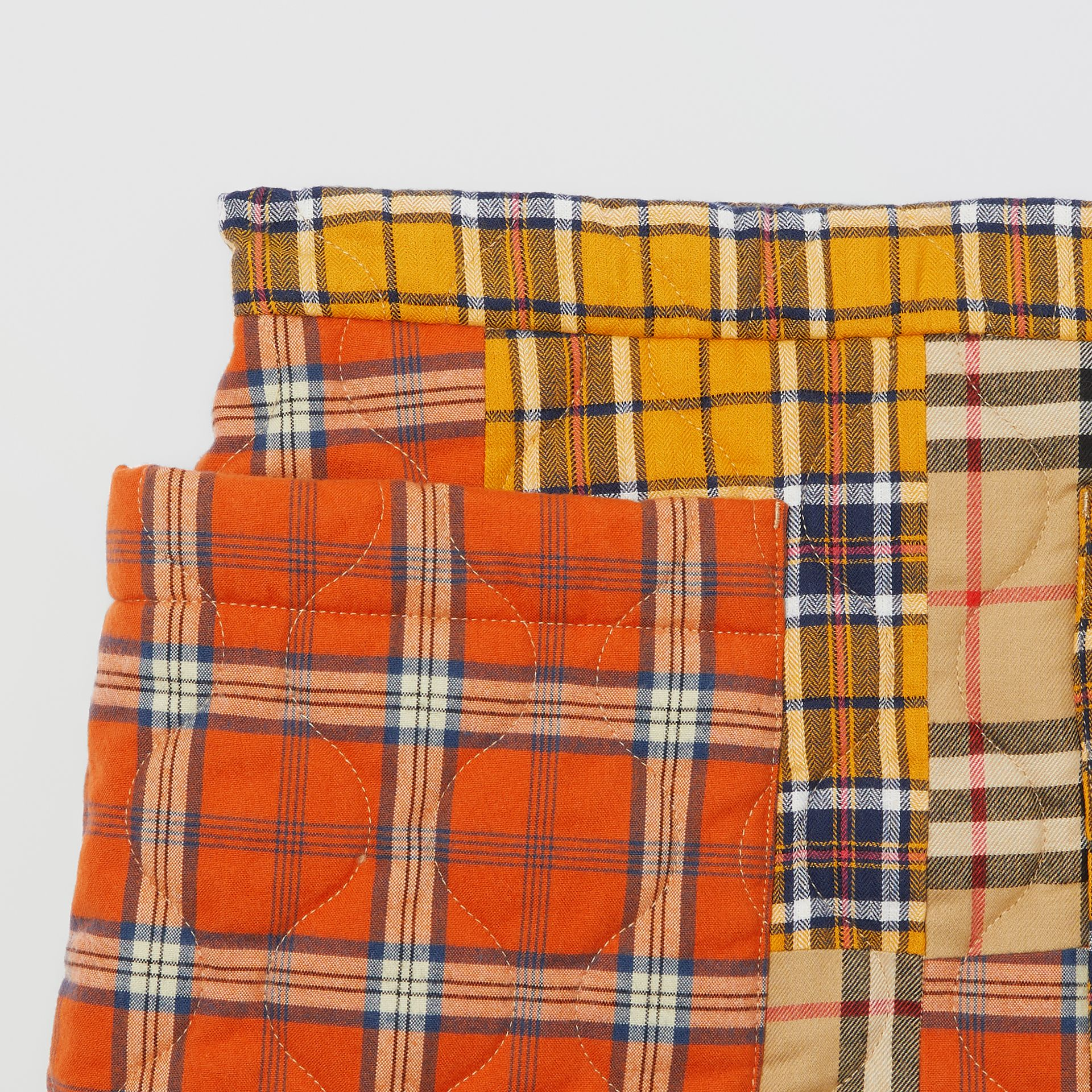 Patchwork Check Cotton Flannel Skirt in Souwester Yellow | Burberry United Kingdom - gallery image 4