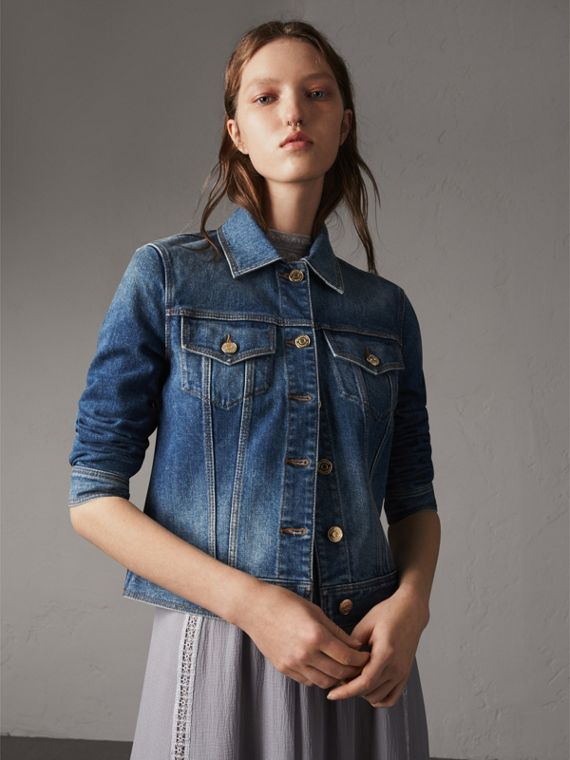 Check Detail Denim Jacket in Light Indigo