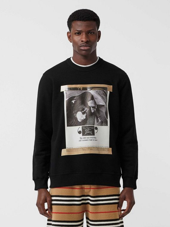 Archive Campaign Print Cotton Sweatshirt in Black
