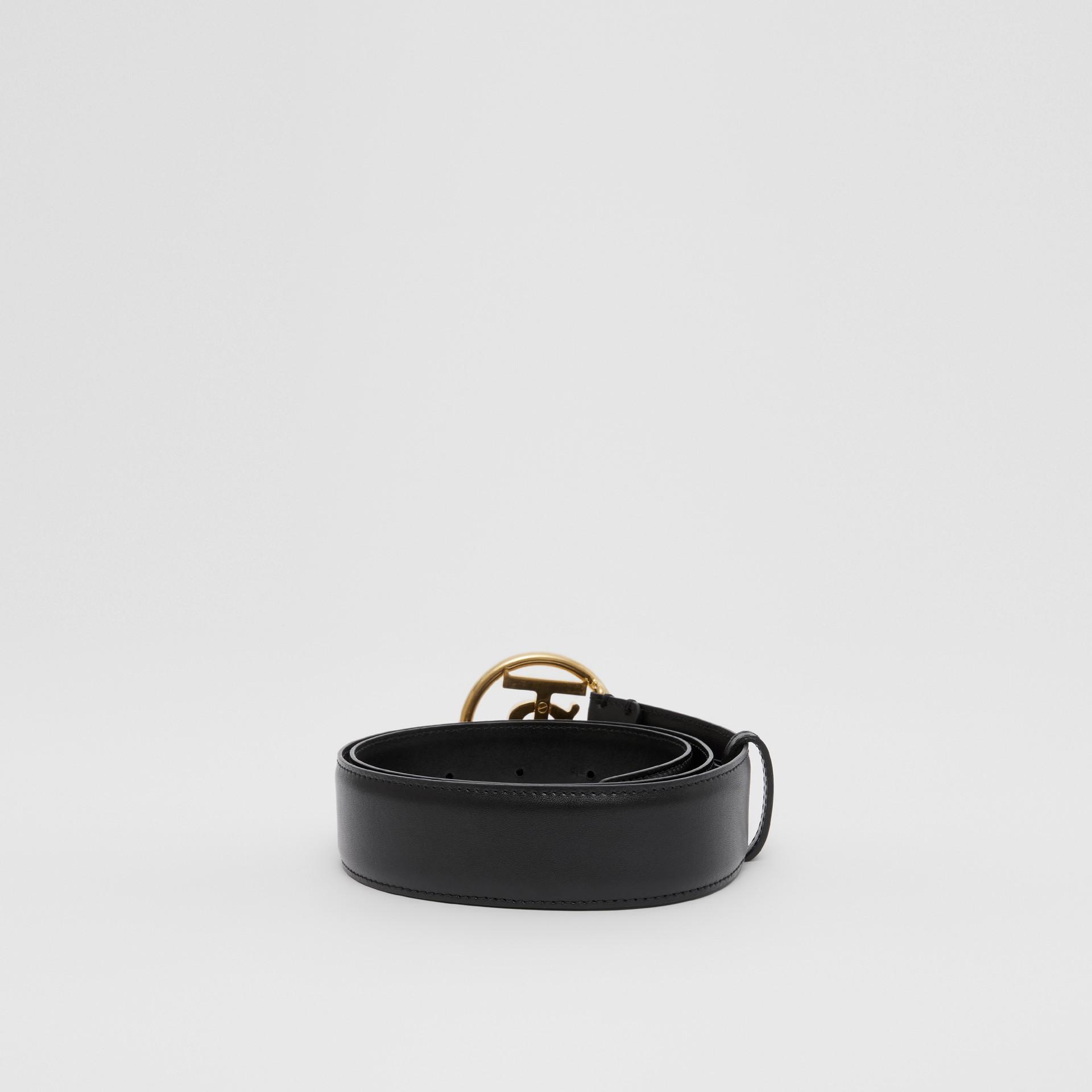 Monogram Motif Leather Belt in Black - Women | Burberry - gallery image 4