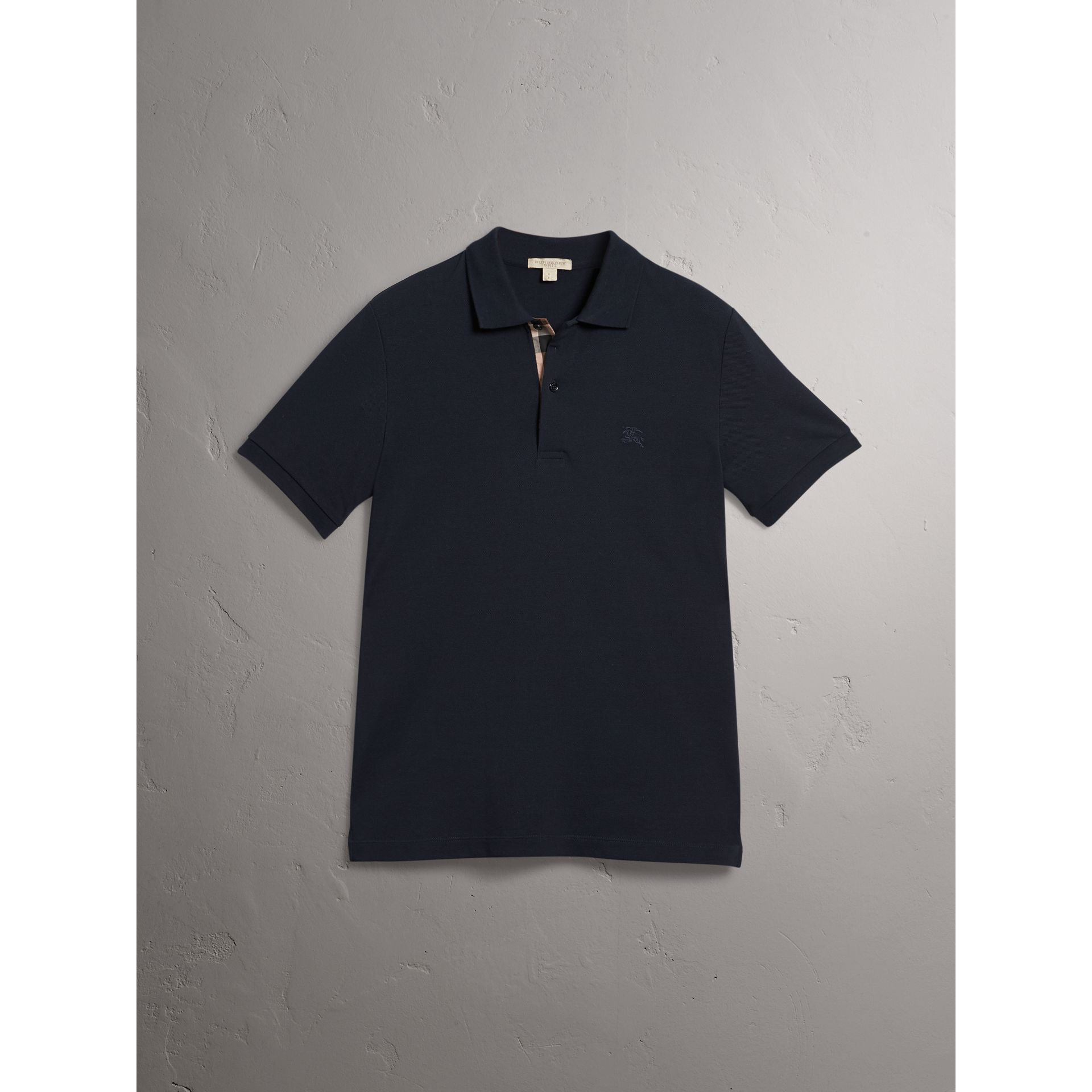Check Placket Cotton Piqué Polo Shirt in Dark Navy - Men | Burberry - gallery image 3