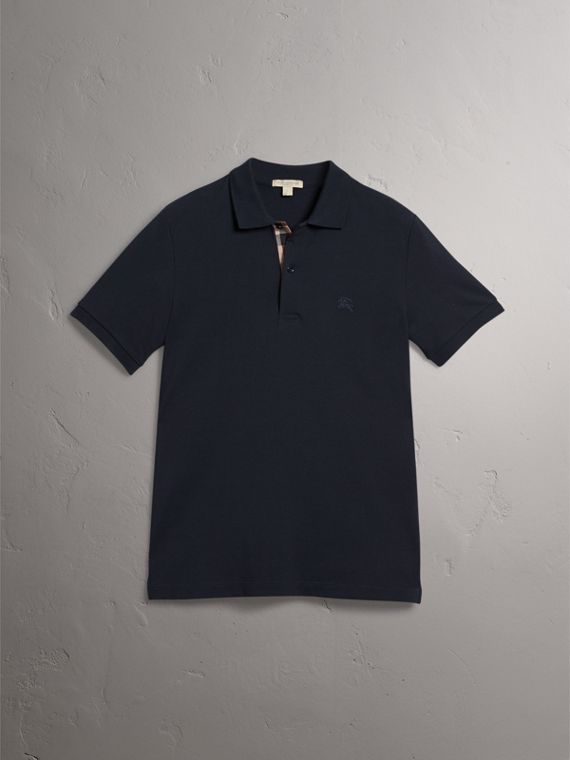 Check Placket Cotton Piqué Polo Shirt in Dark Navy