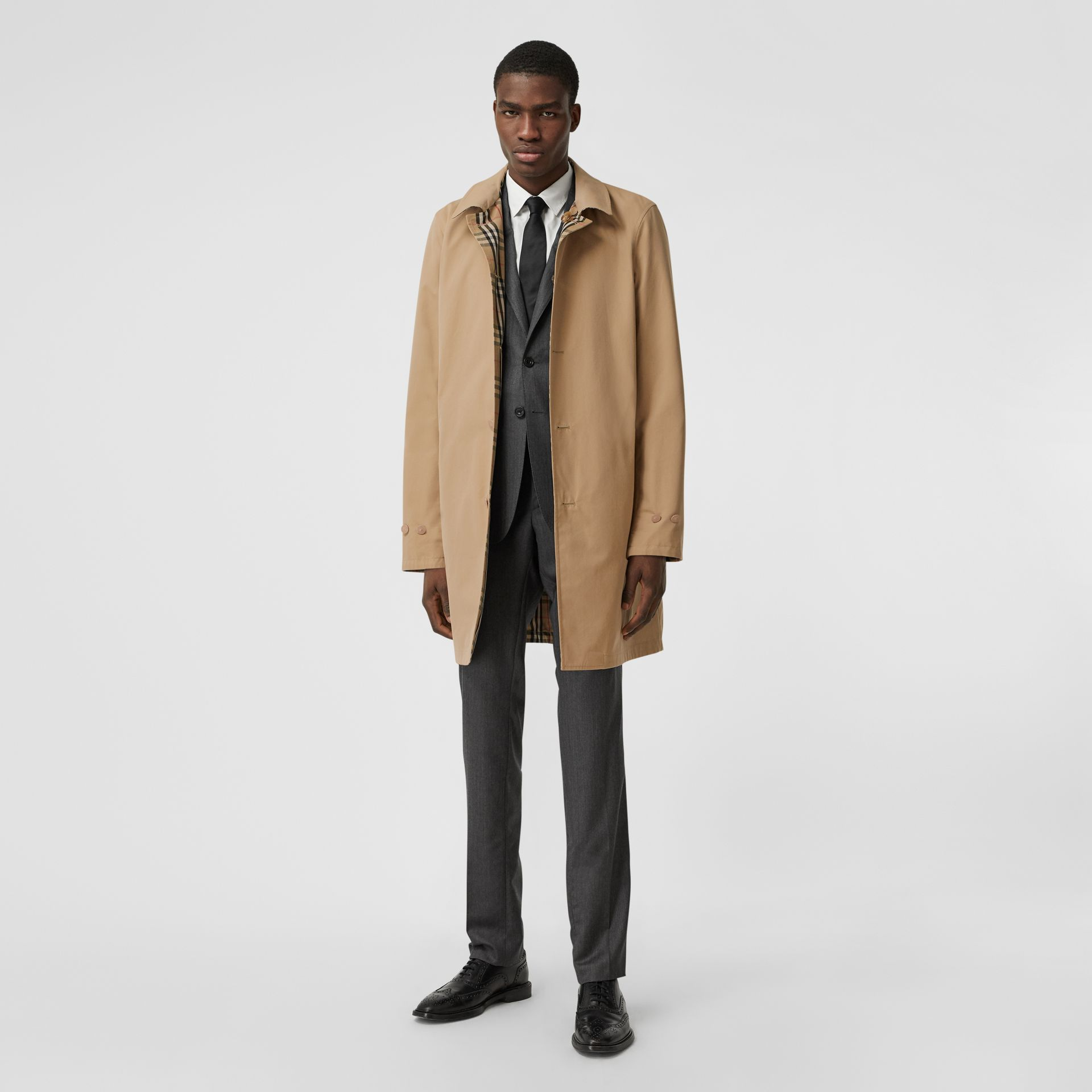 Reversible Vintage Check Recycled Polyester Car Coat in Archive Beige - Men | Burberry - gallery image 6