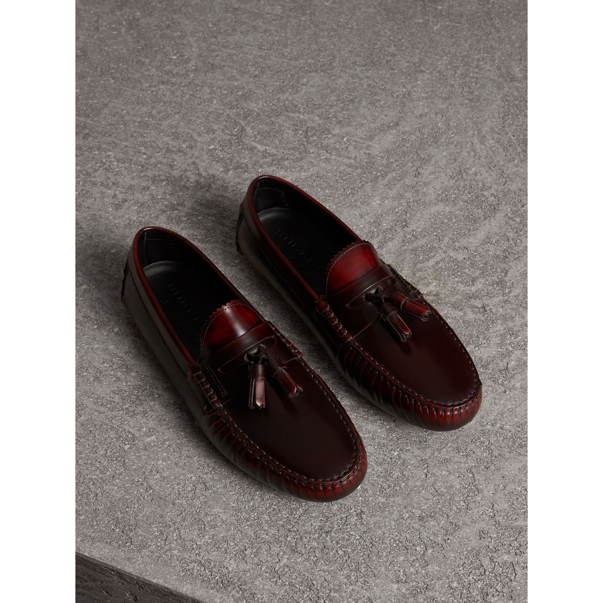 Tasselled Polished Leather Loafers in Bordeaux - Men | Burberry United States - gallery image 1