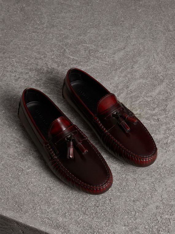 Tasselled Polished Leather Loafers in Bordeaux