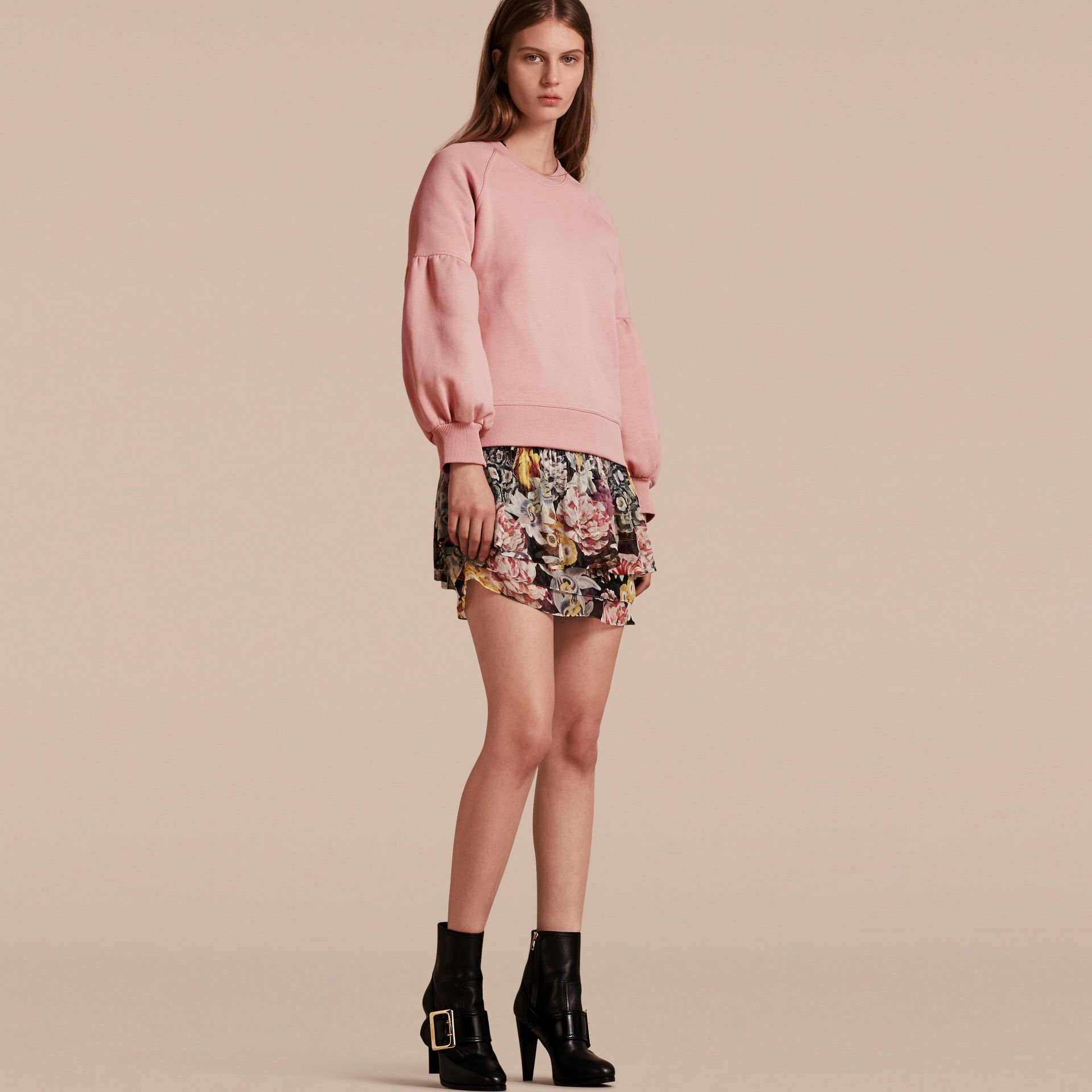 Sweat-shirt en jersey avec manches bouffantes (Rose Platiné) - Femme | Burberry - photo de la galerie 1