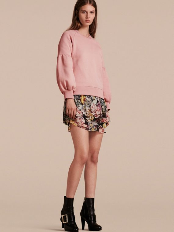 Brushed-back Jersey Sweatshirt with Bell Sleeves Ash Rose