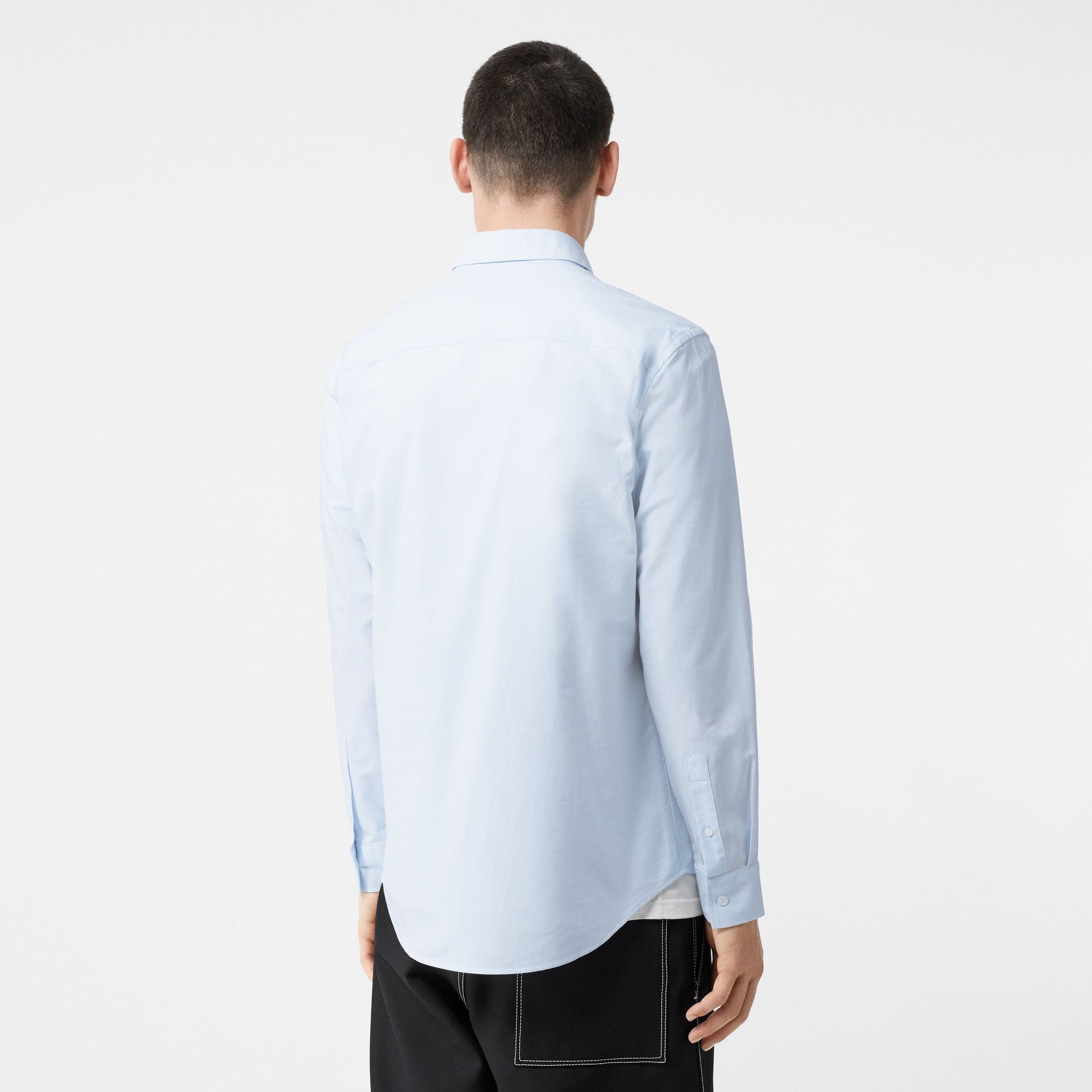 Icon Stripe Detail Stretch Cotton Poplin Shirt in Pale Blue - Men | Burberry - gallery image 2