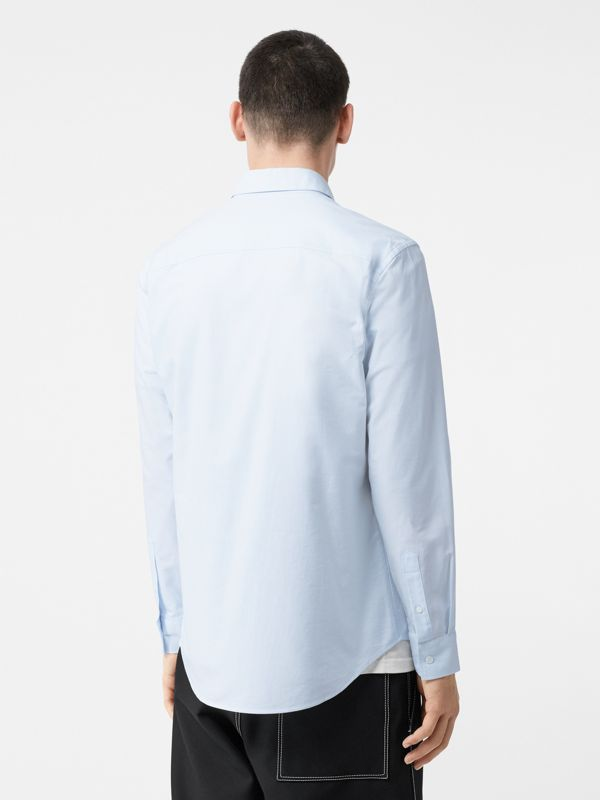 Icon Stripe Detail Stretch Cotton Poplin Shirt in Pale Blue - Men | Burberry - cell image 2